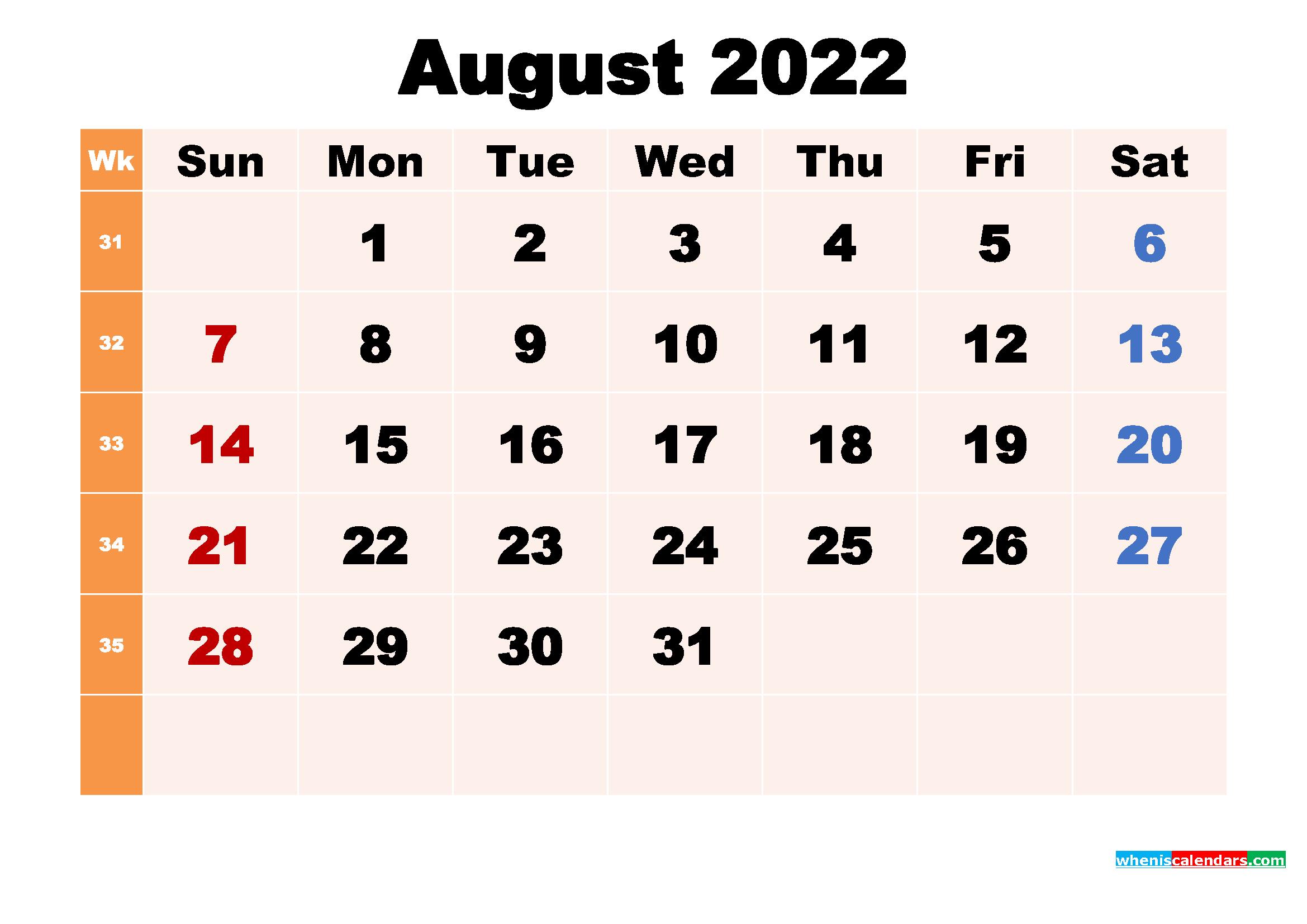 August 2022 Desktop Calendar with Holidays