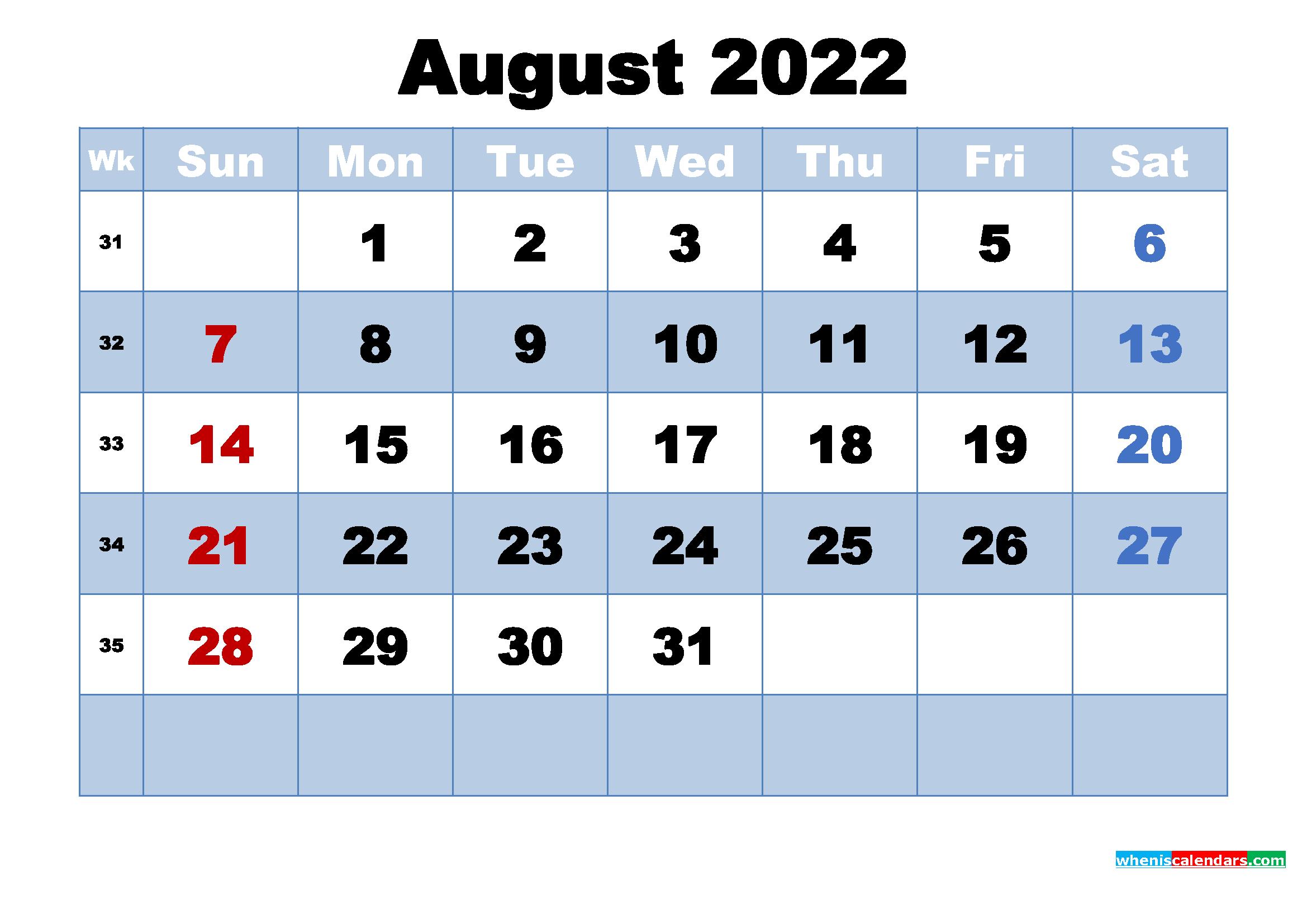 August 2022 Calendar Wallpaper High Resolution