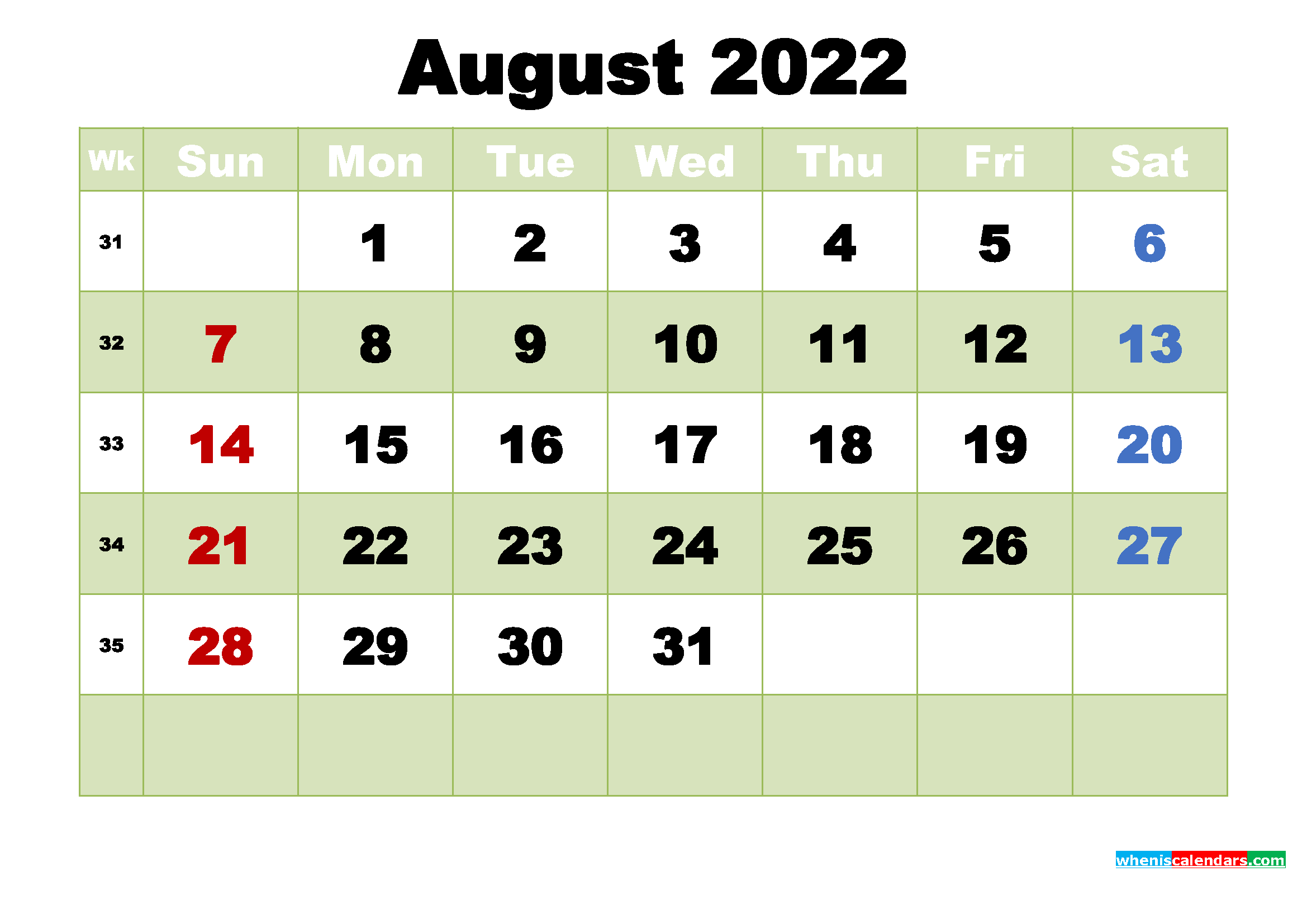 Printable 2022 Calendar by Month August