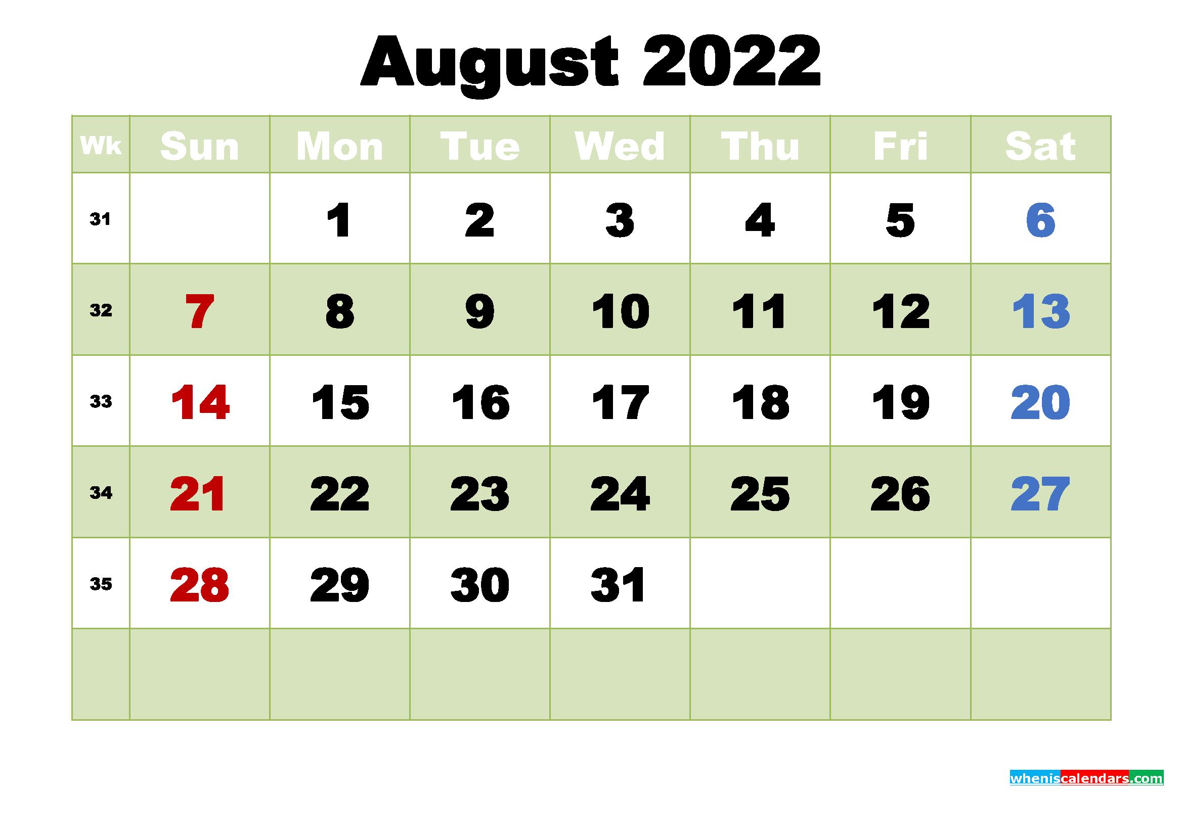 Printable Calendar for August 2022