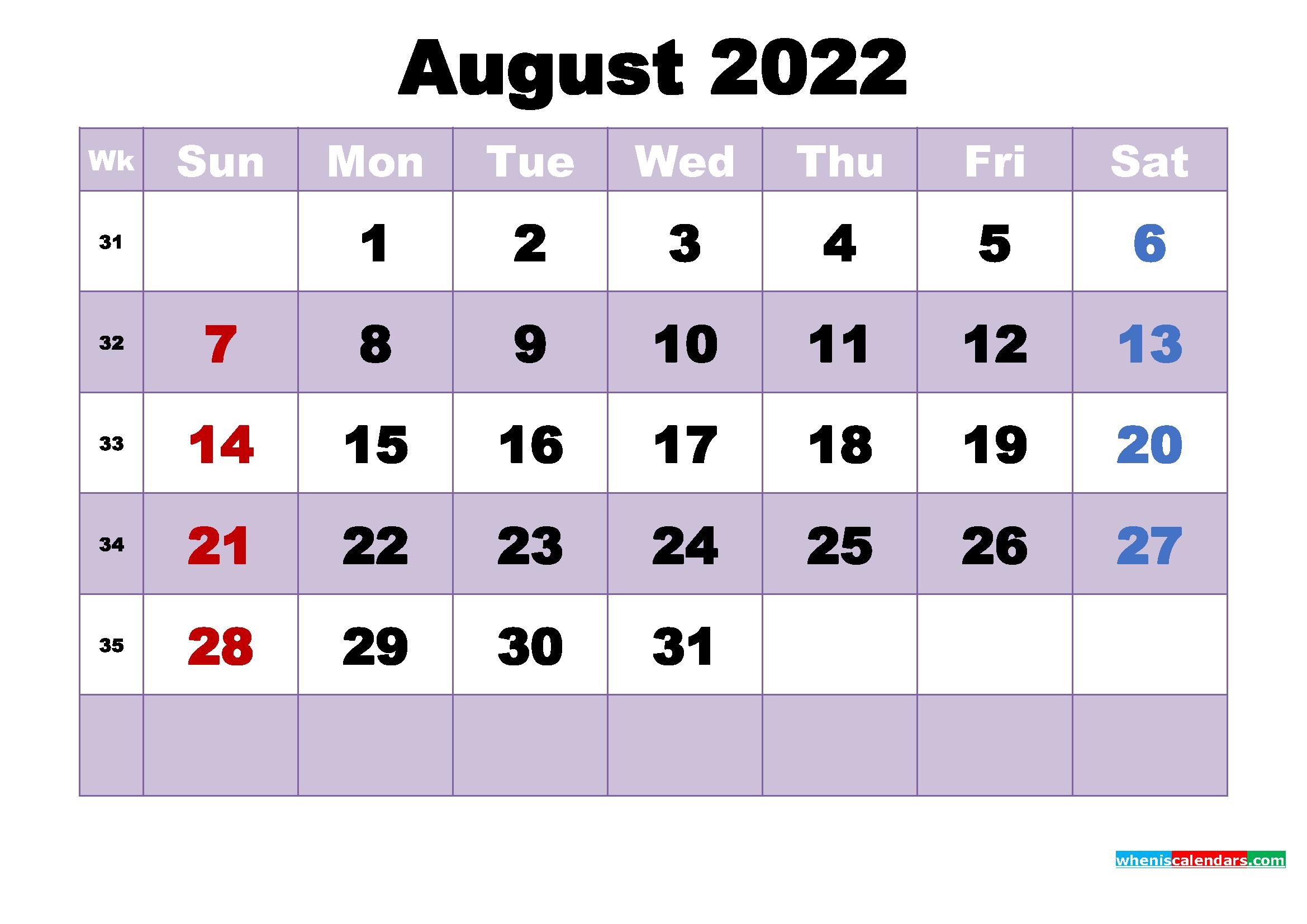 August 2022 Desktop Calendar High Resolution