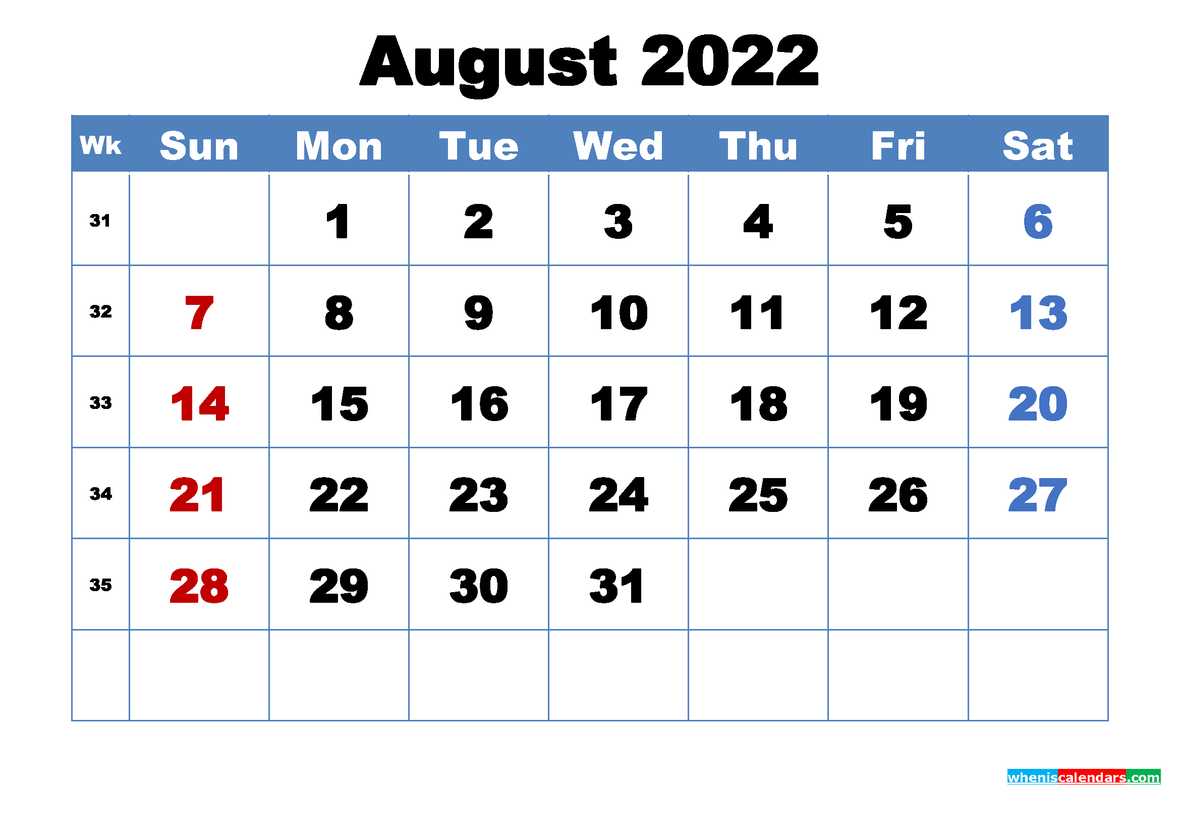 August 2022 Calendar Wallpaper Free Download