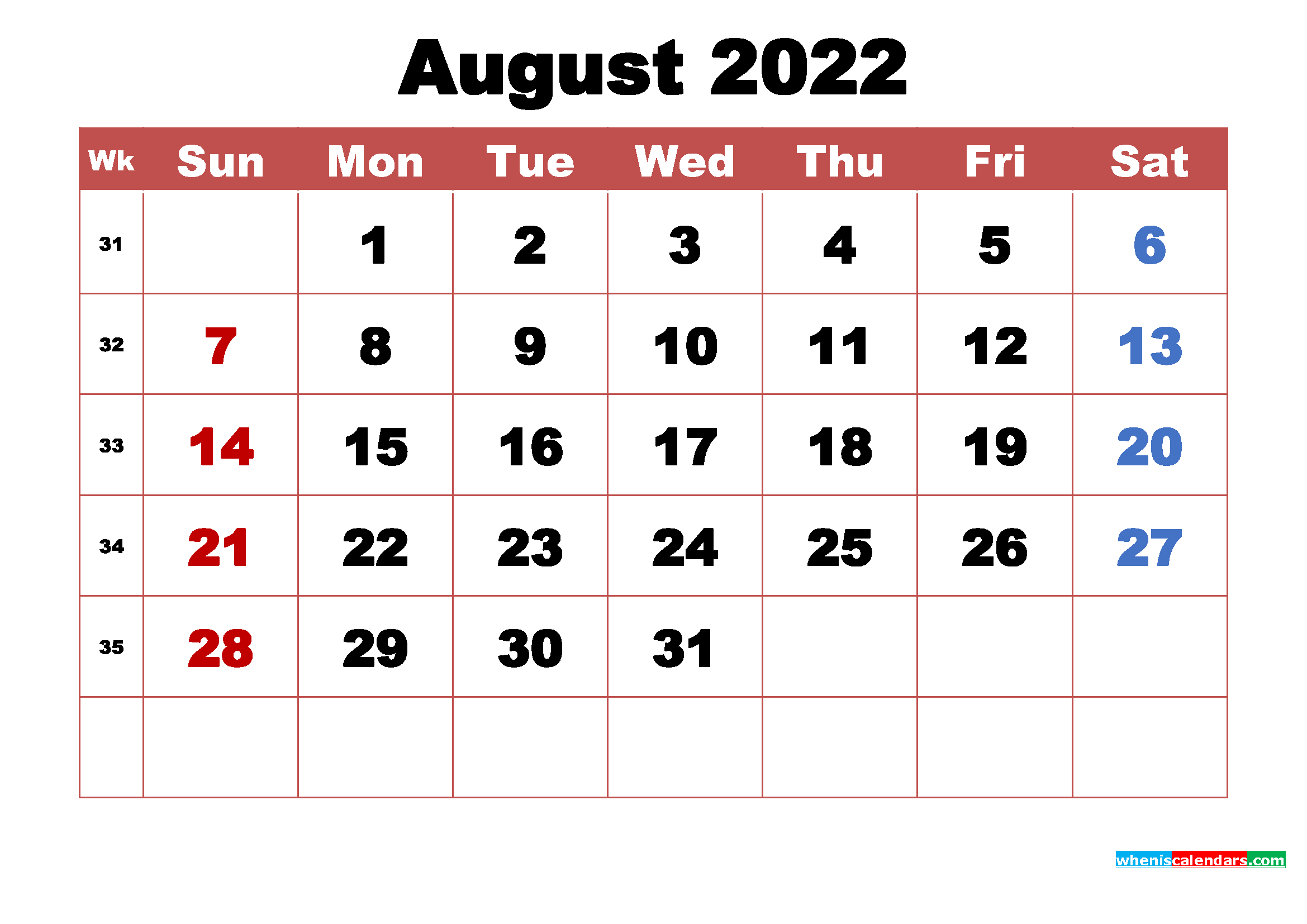 Printable August 2022 Calendar with Holidays Word, PDF