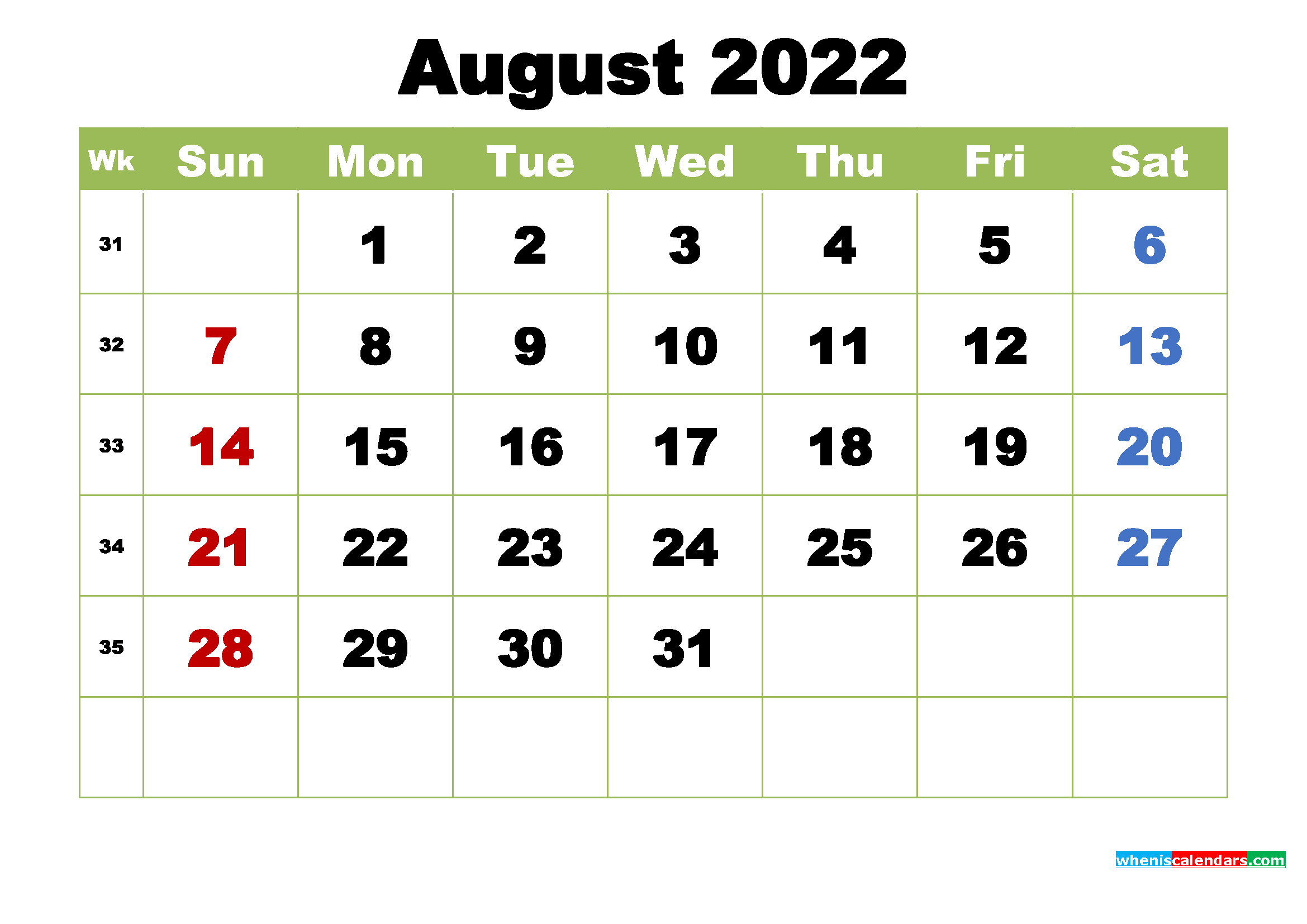 Free August 2022 Printable Calendar with Holidays