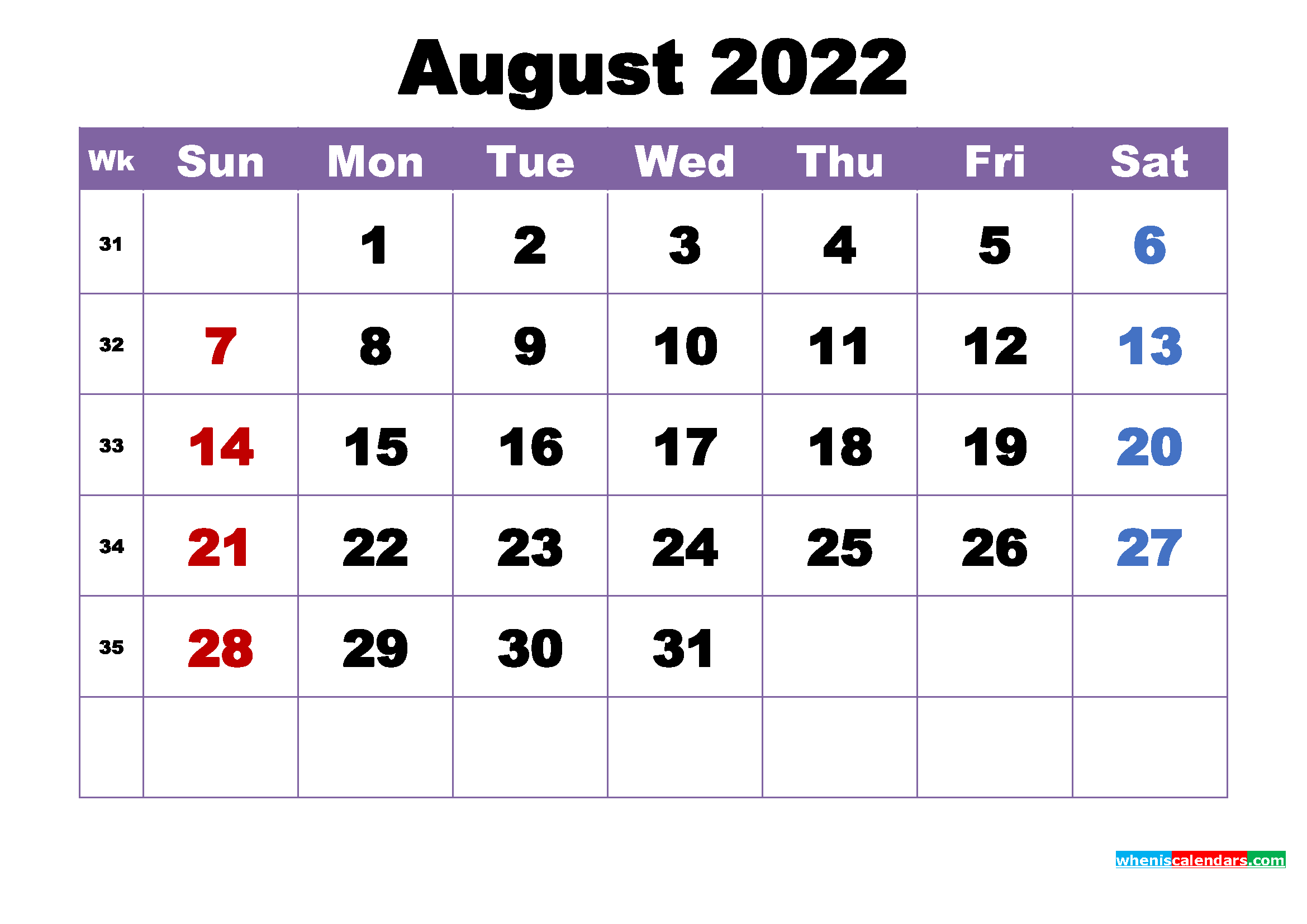 Free Printable August 2022 Calendar Wallpaper