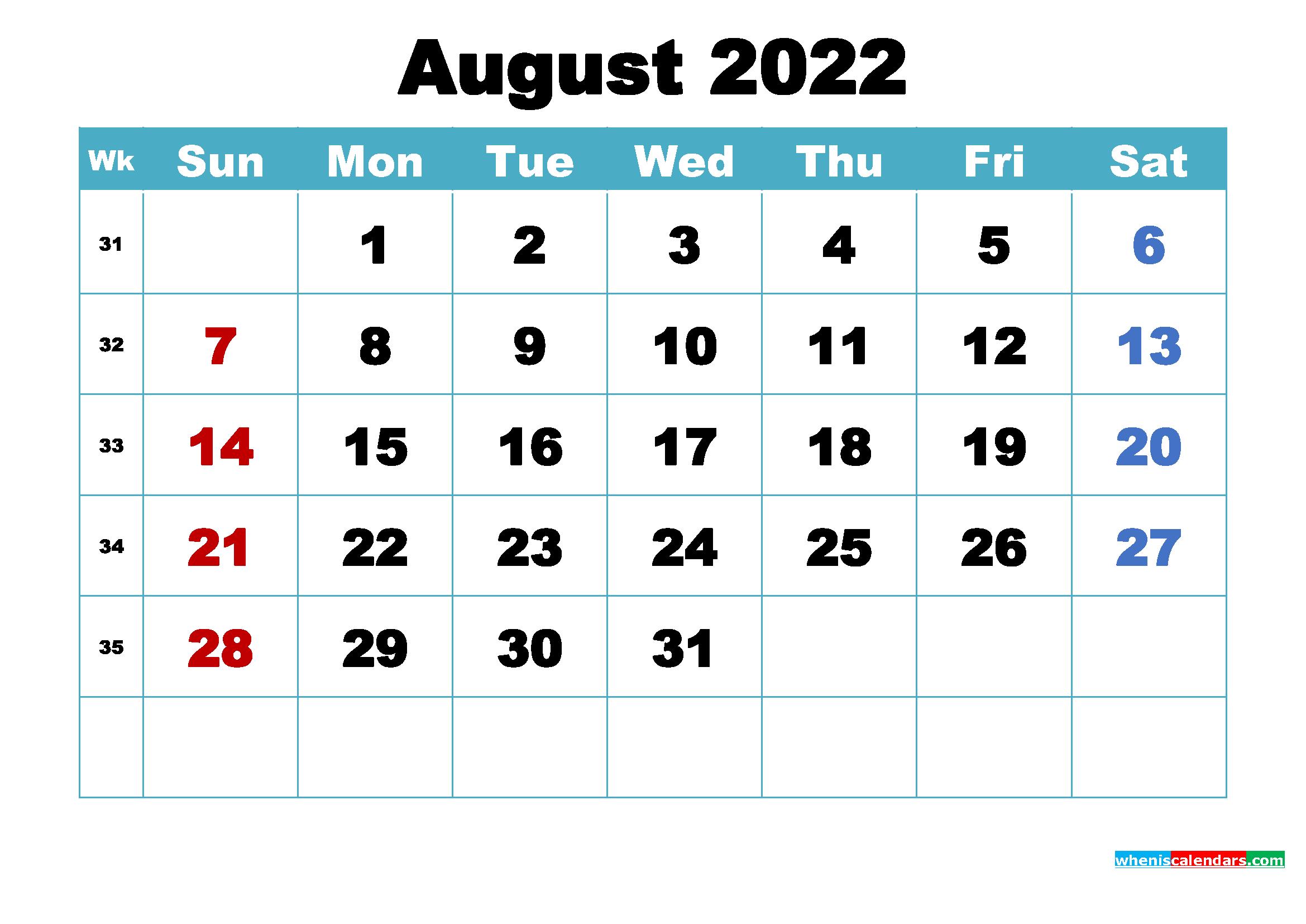 Free August 2022 Desktop Calendar High Resolution