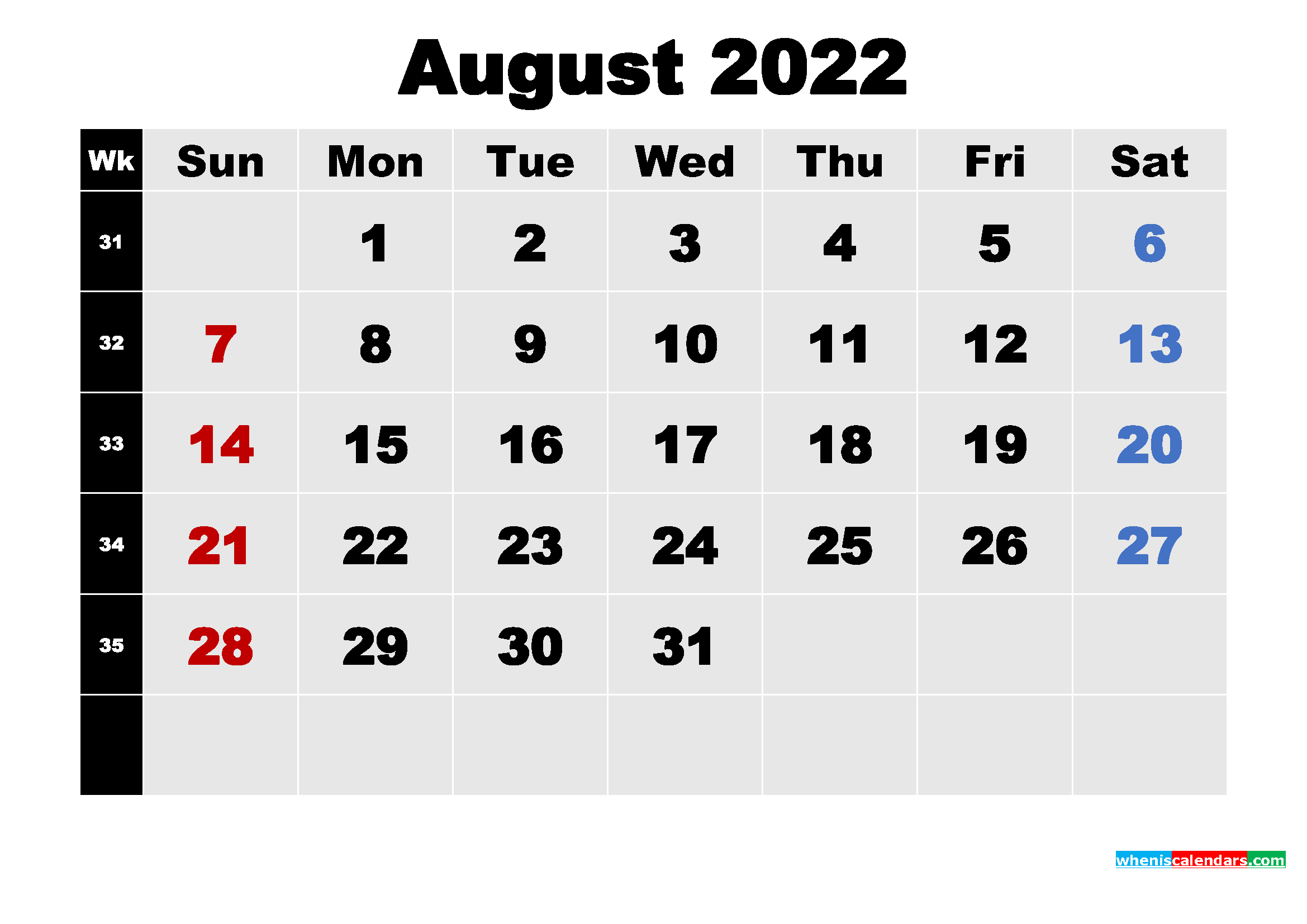 Printable 2022 Calendar with Holidays August