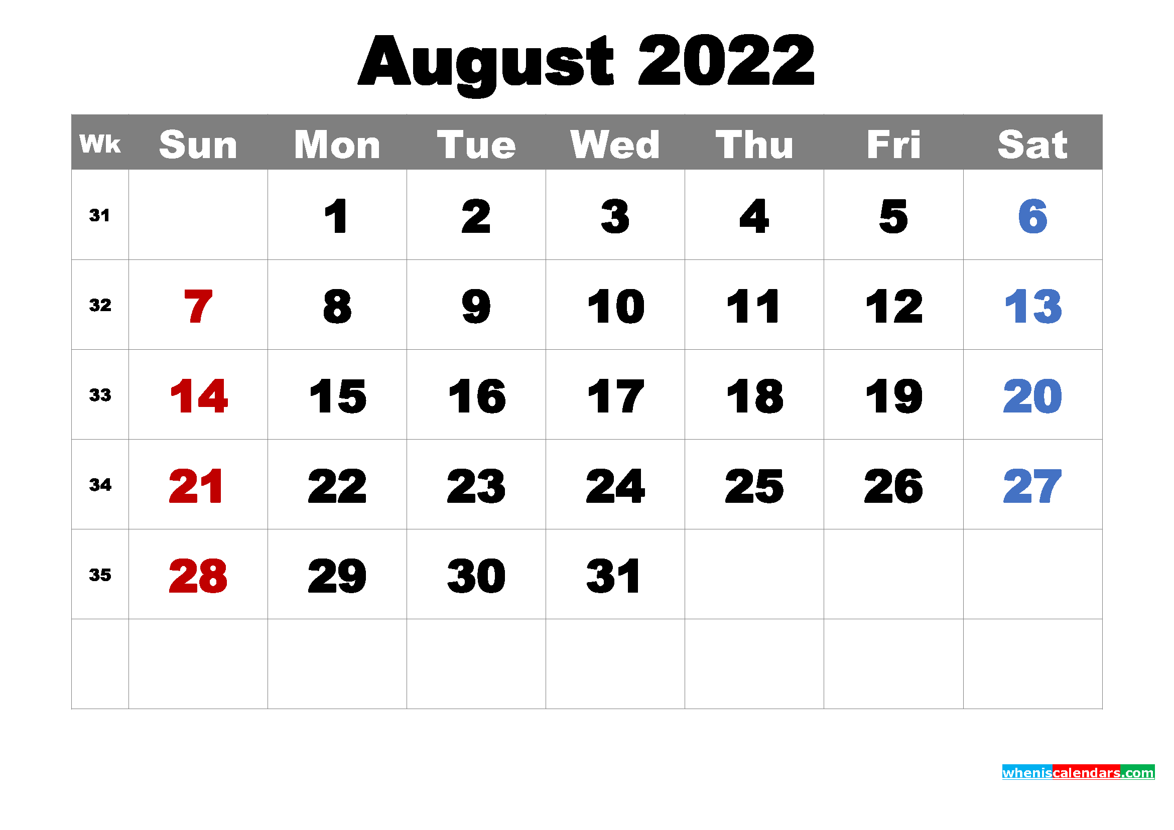 Printable August 2022 Calendar by Month