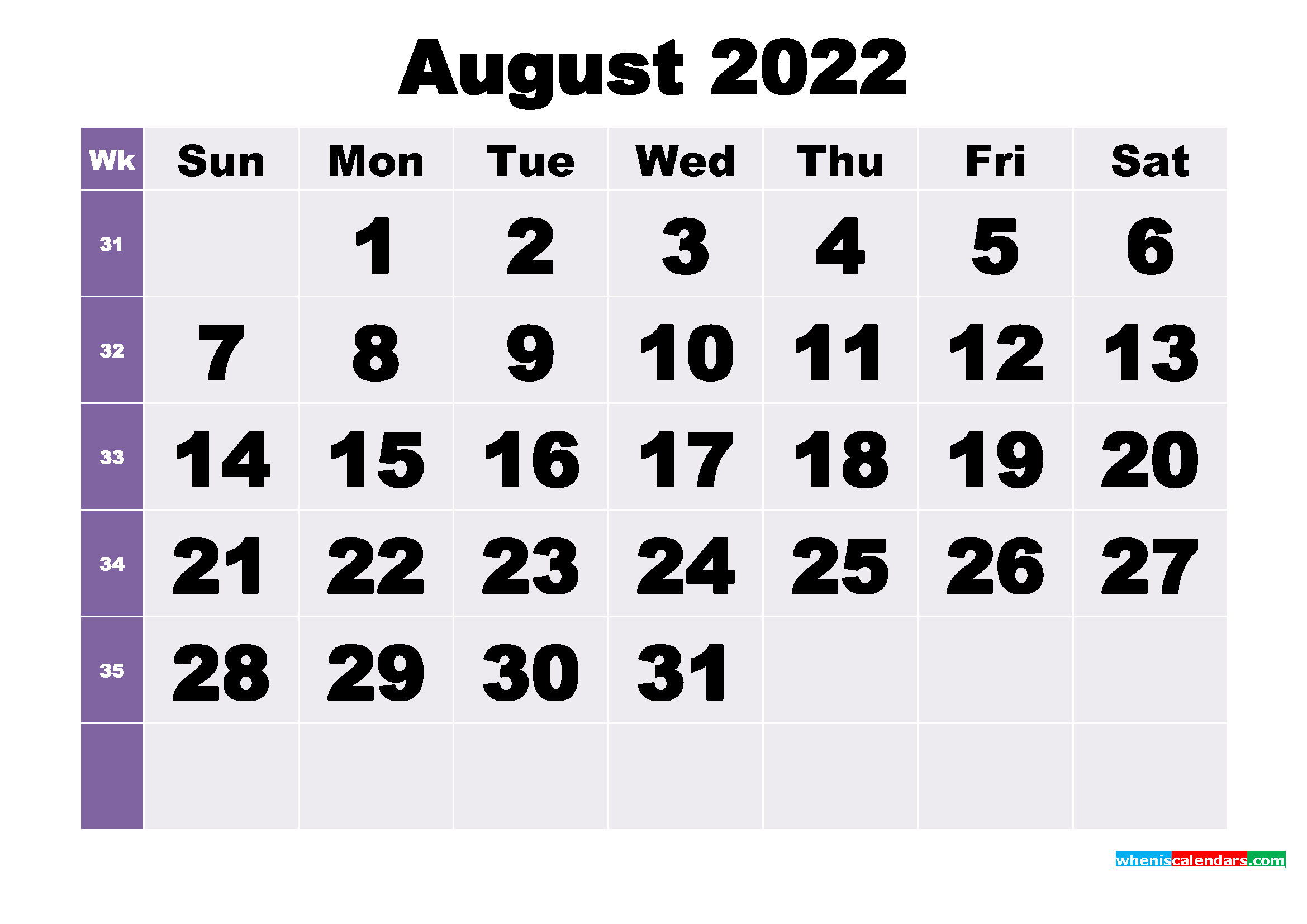 Free August 2022 Printable Monthly Calendar Template