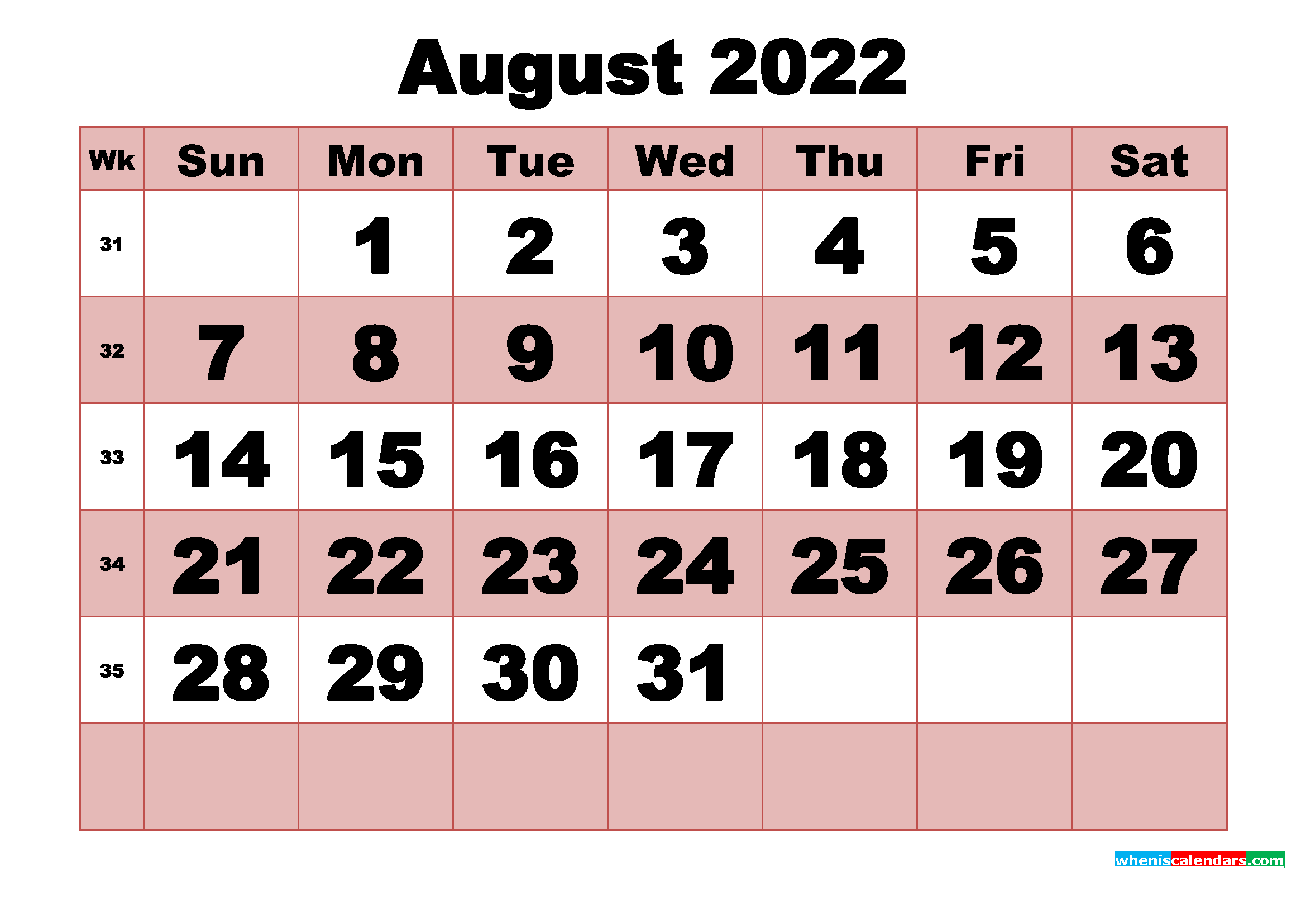 Free Printable Monthly Calendar August 2022