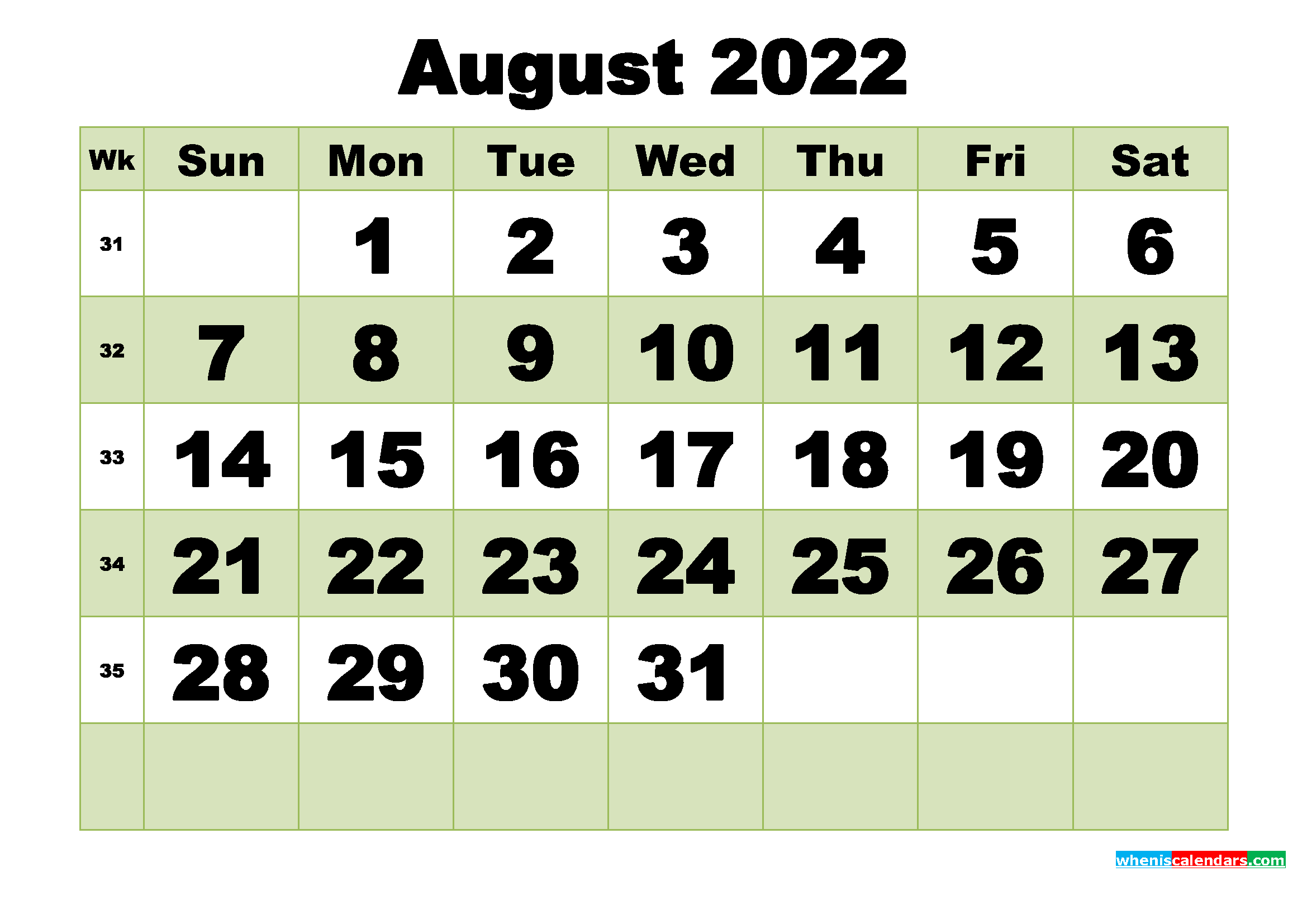 August 2022 Printable Calendar Template