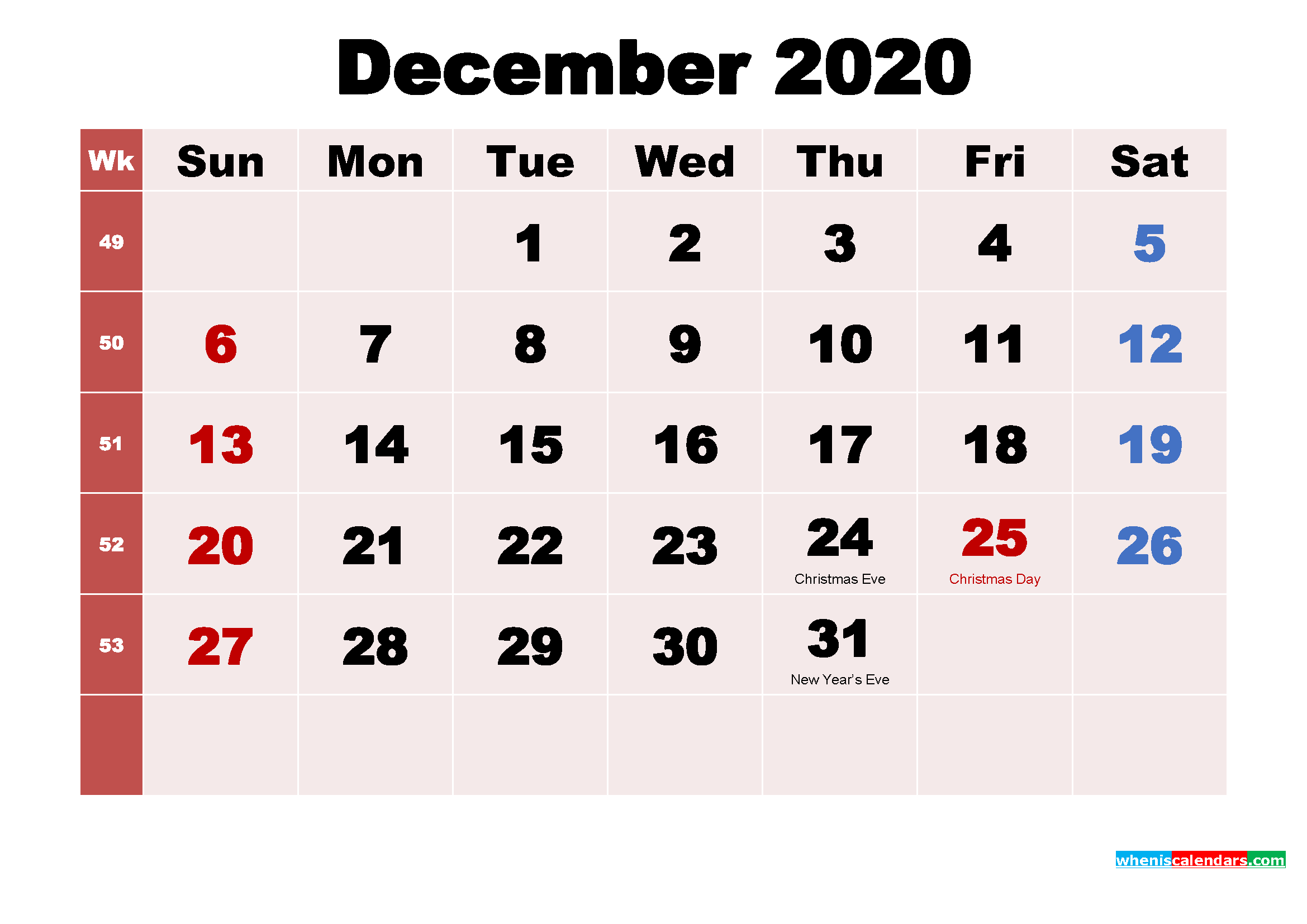 Free Printable December 2020 Calendar with Holidays as Word, PDF