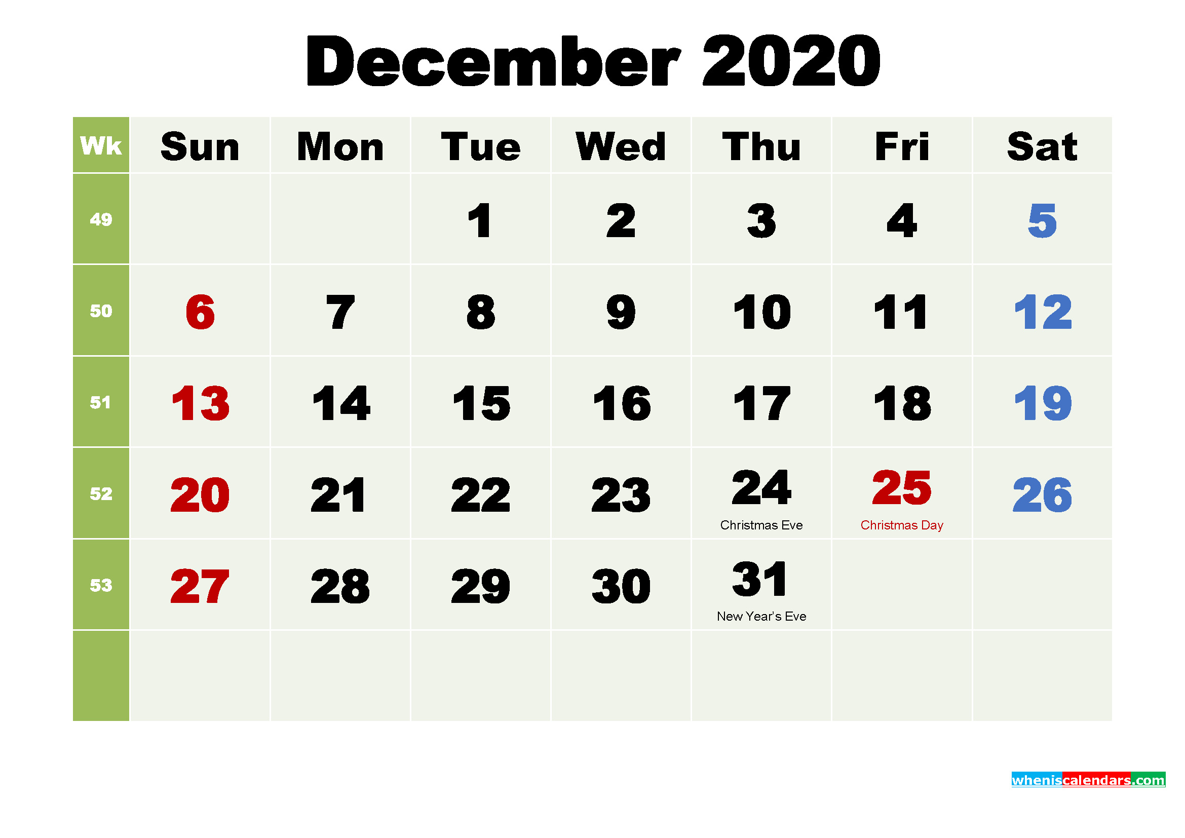Free Printable December 2020 Calendar with Holidays – Free ...