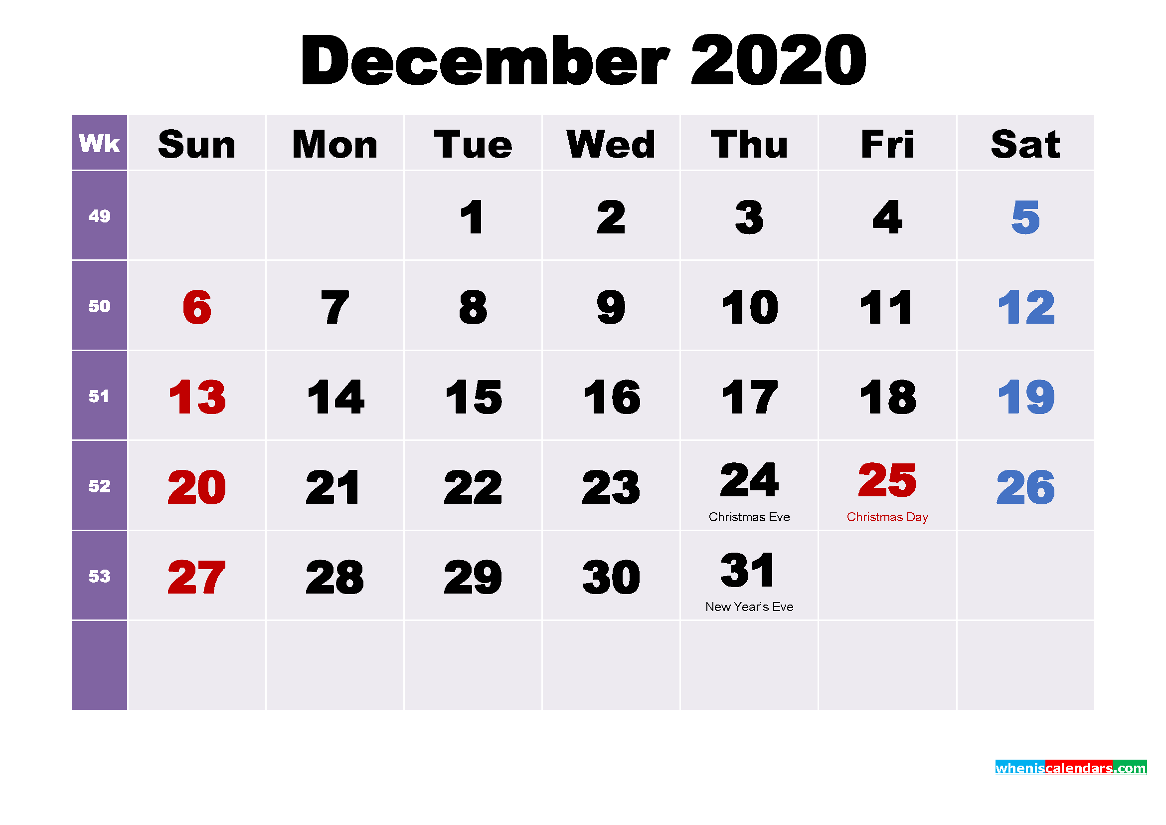 Printable December 2020 Calendar with Holidays