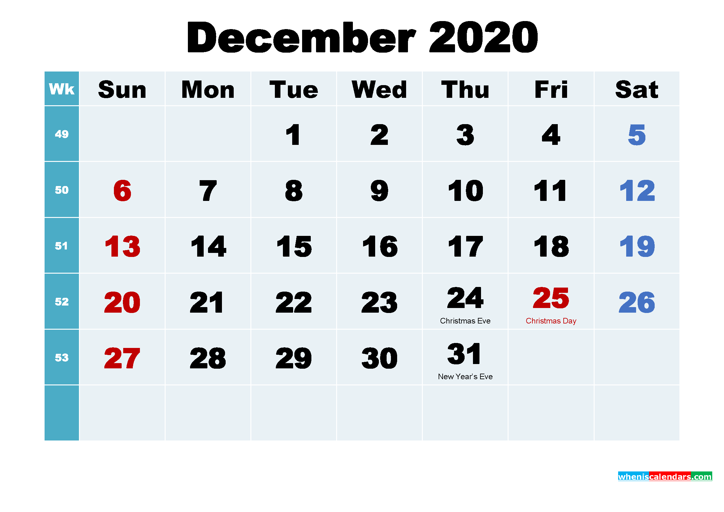Printable 2020 Calendar with Holidays December