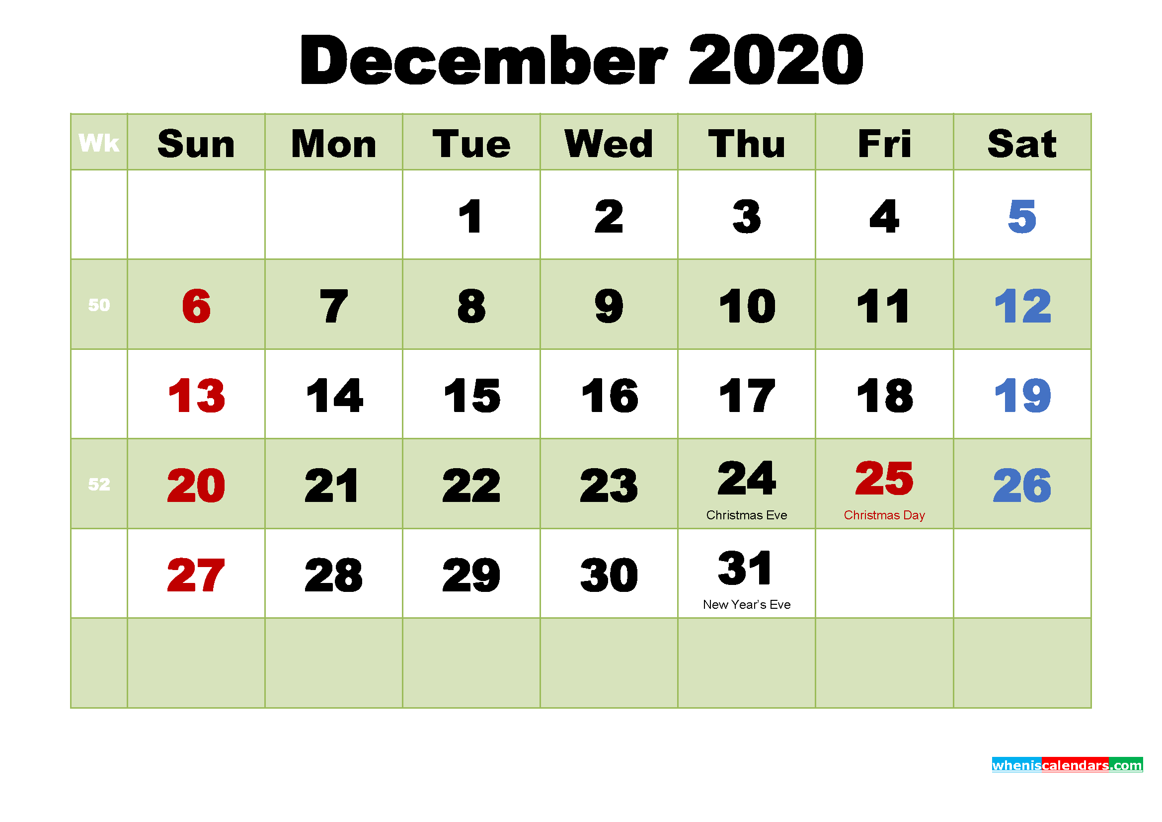 Printable 2020 Calendar by Month December