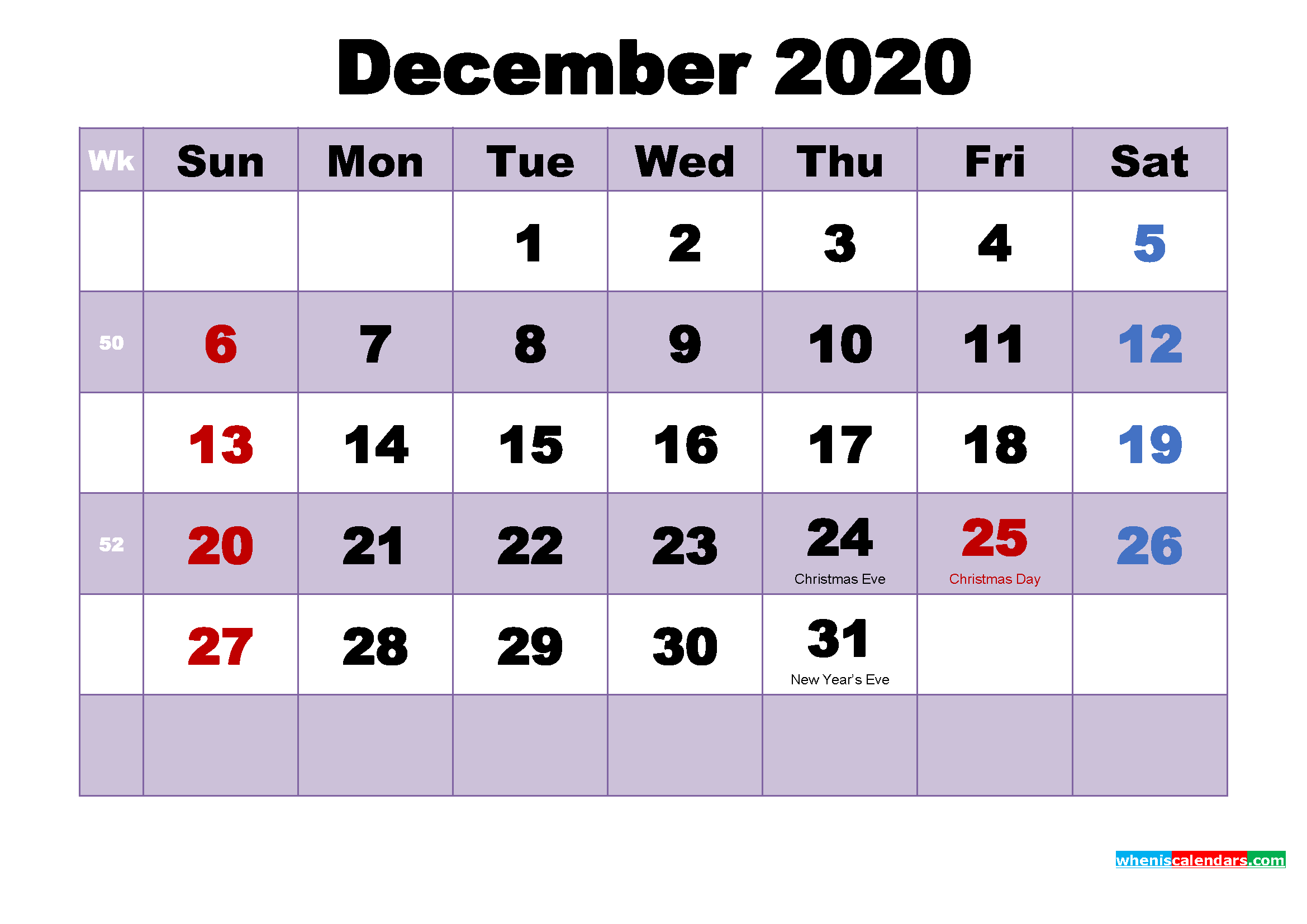 Free 2020 Printable Calendar December as Word, PDF