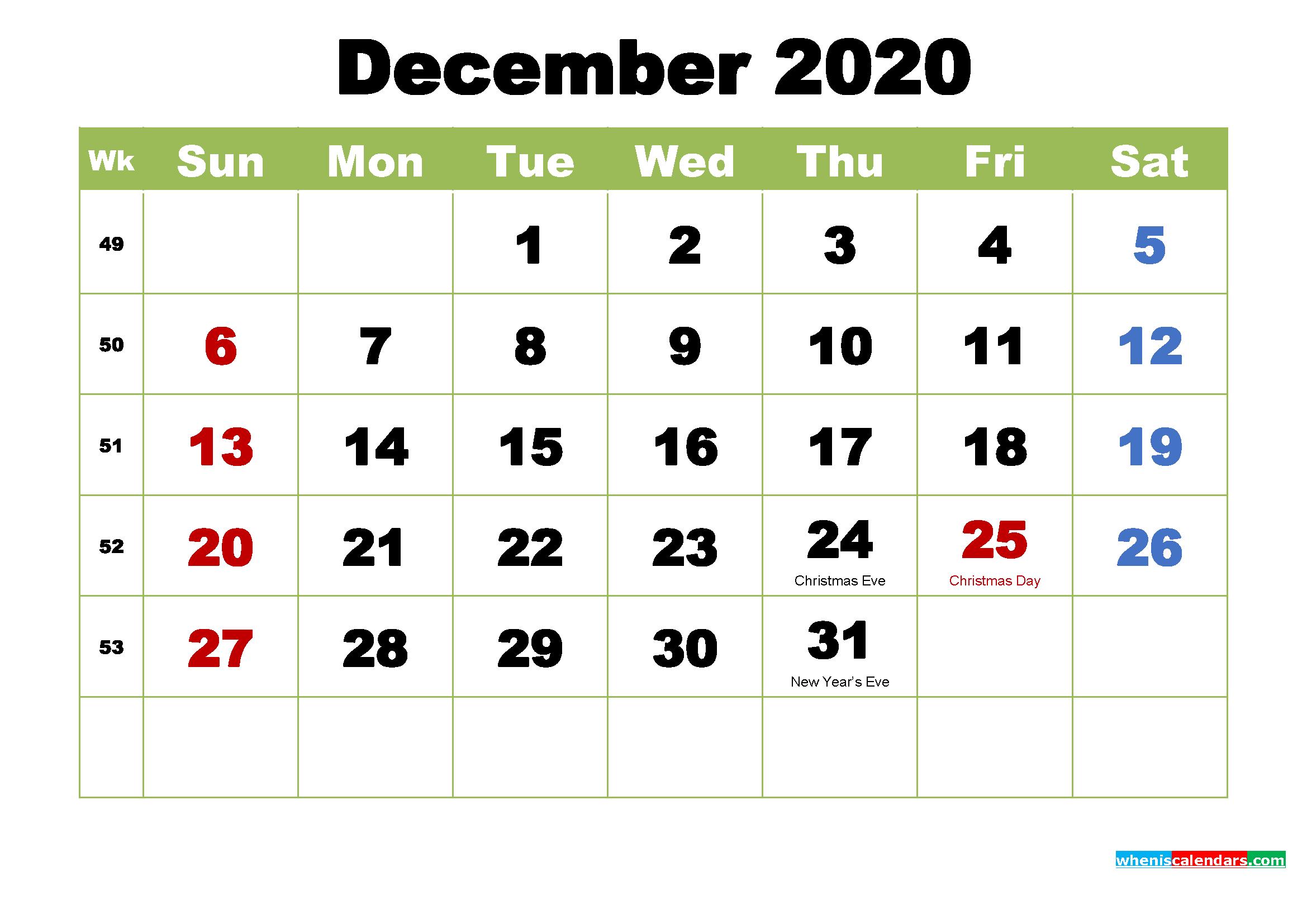 Free Printable 2020 Calendar with Holidays December