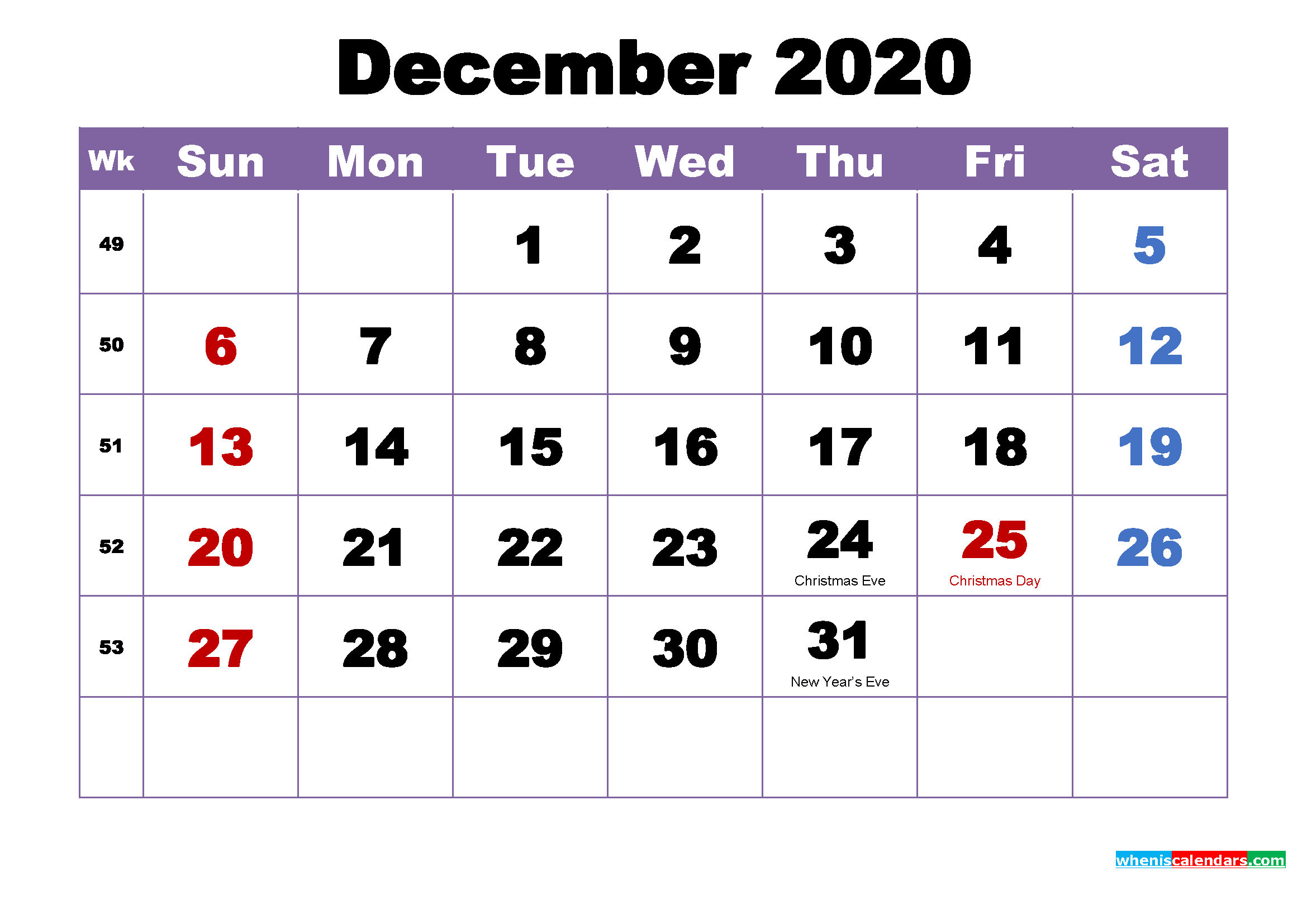 December 2020 Desktop Calendar Monthly