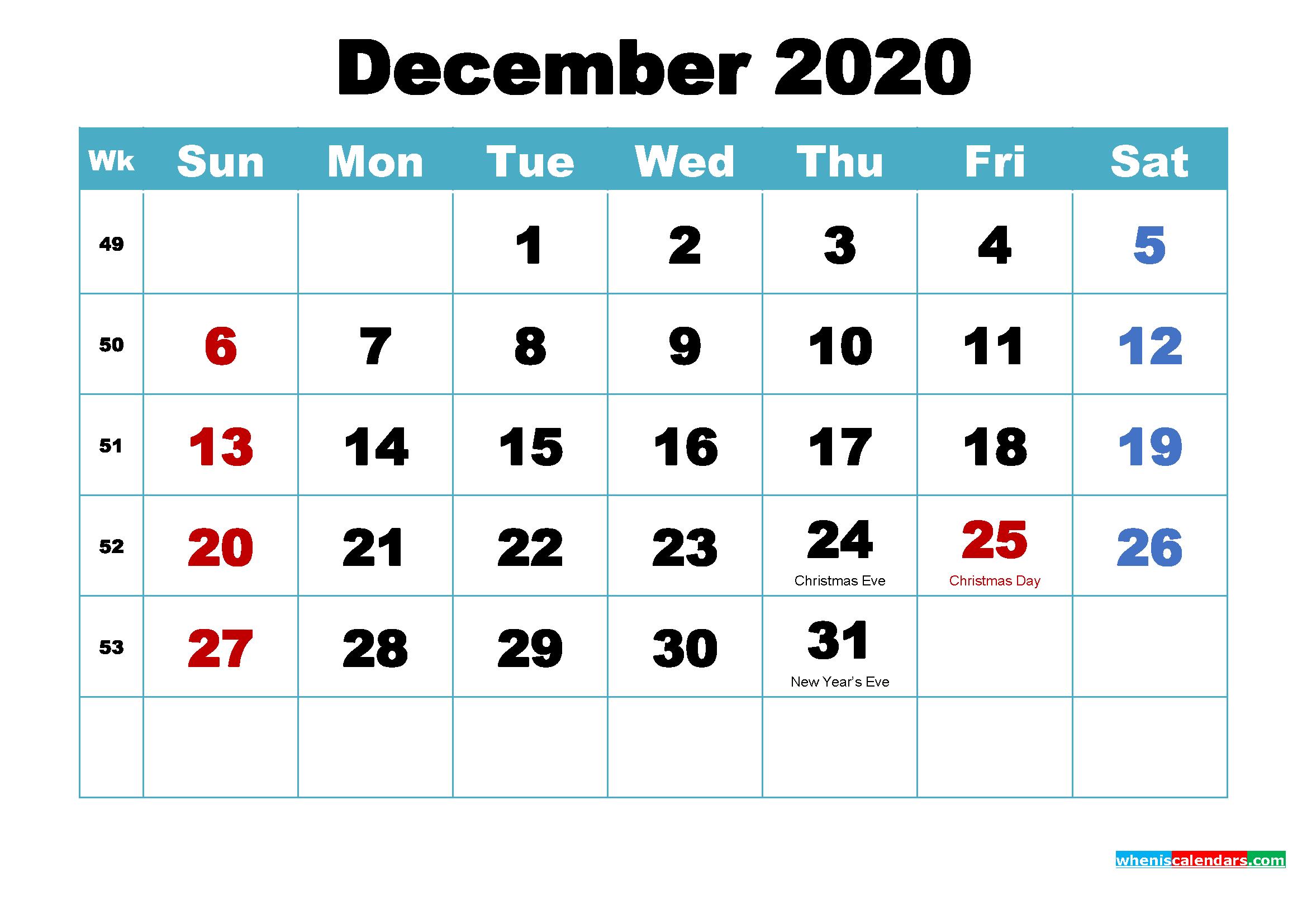December 2020 Calendar Wallpaper Free Download