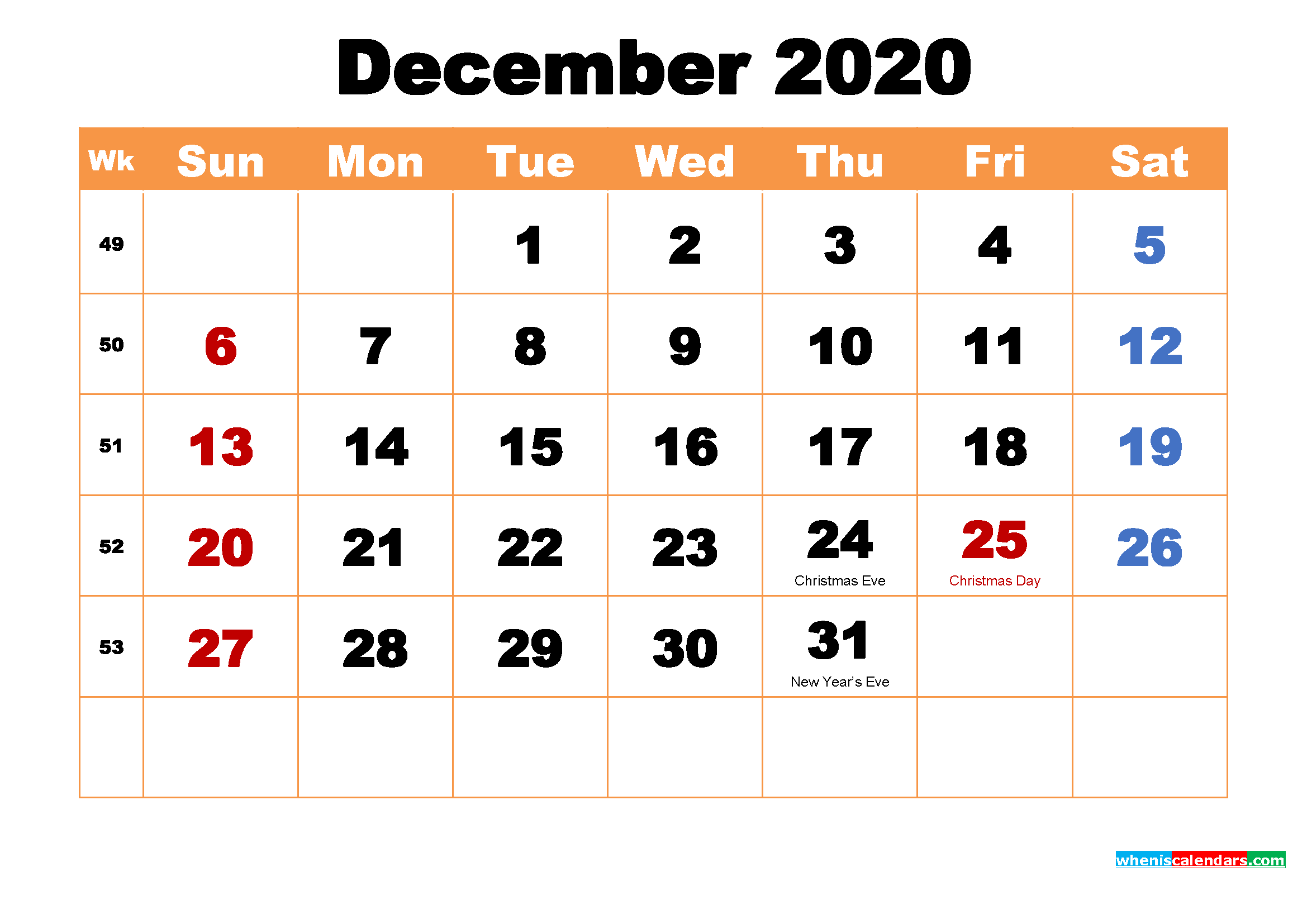 December 2020 Printable Monthly Calendar with Holidays ...
