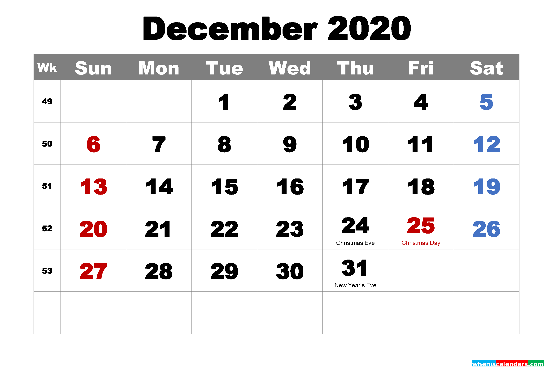 december 2020 monthly calendar printable holidays arialblk