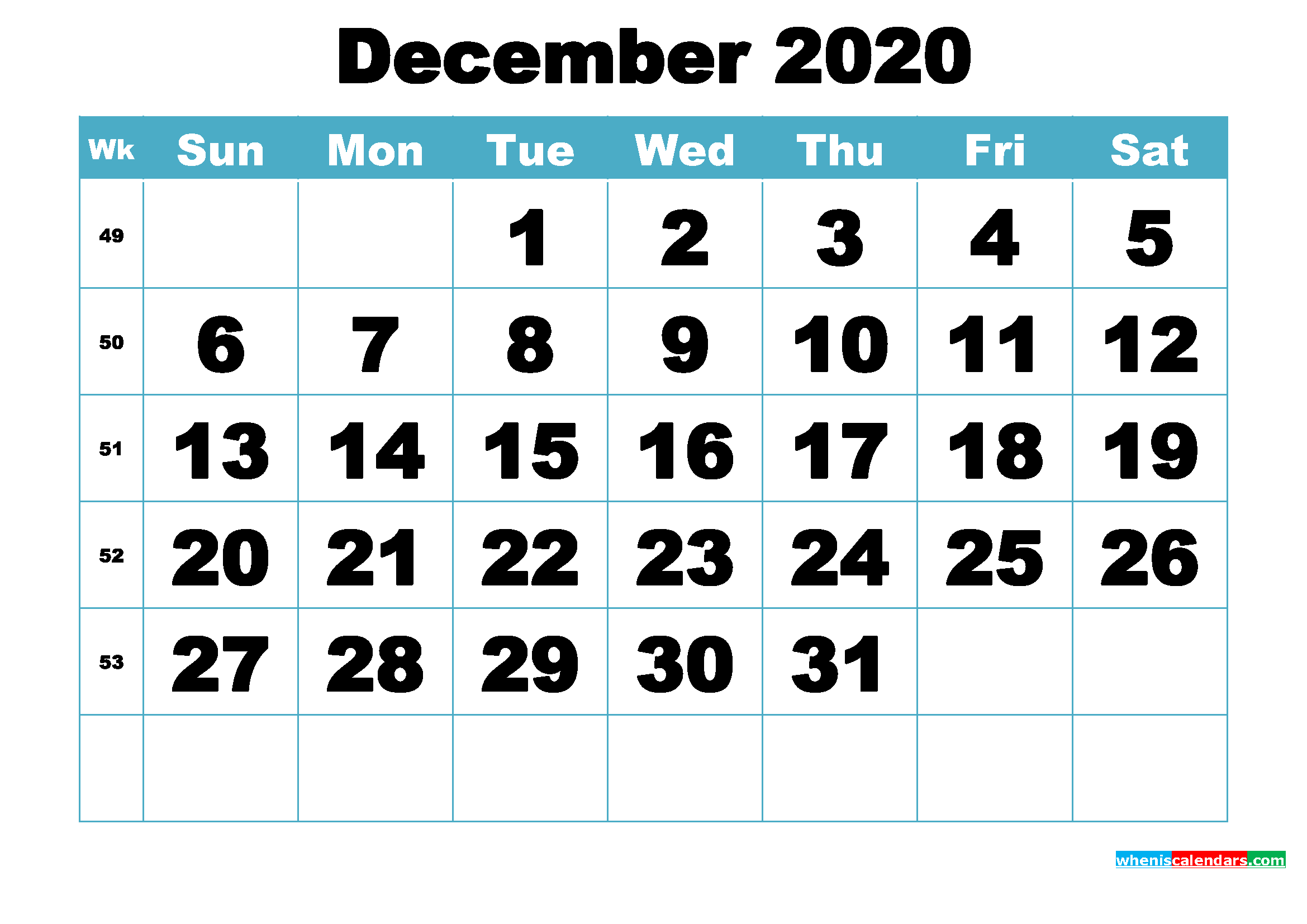 Free December 2020 Printable Monthly Calendar Template