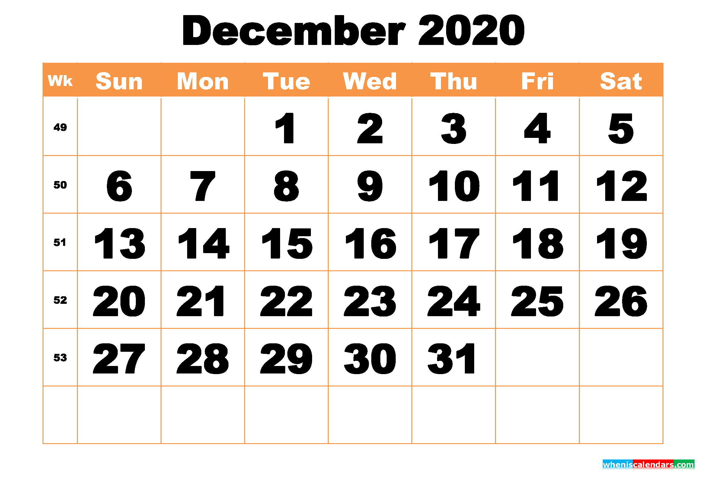 Free Printable December 2020 Calendar Word, PDF, Image