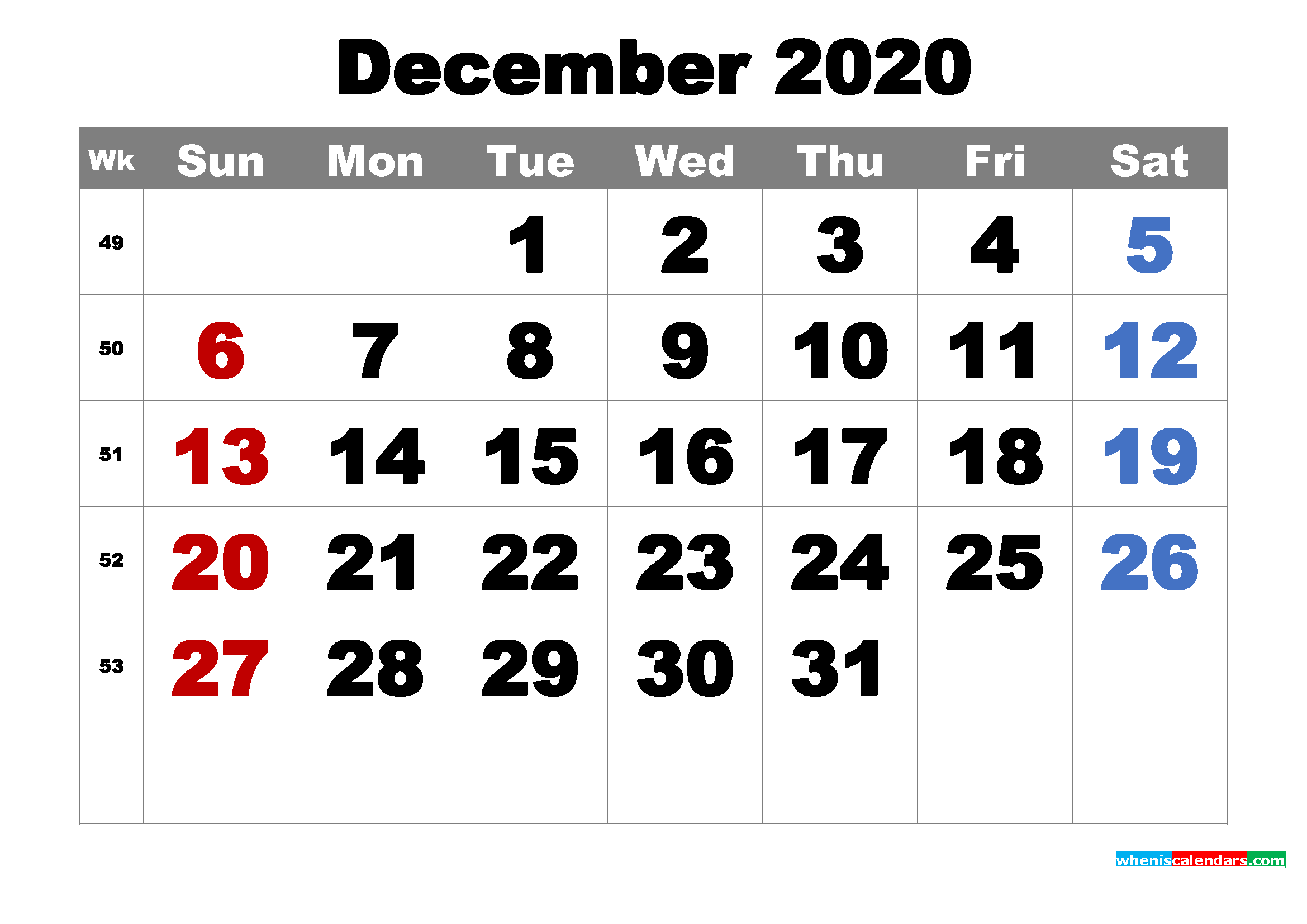 Free Printable December 2020 Calendar Word, PDF, Image ...