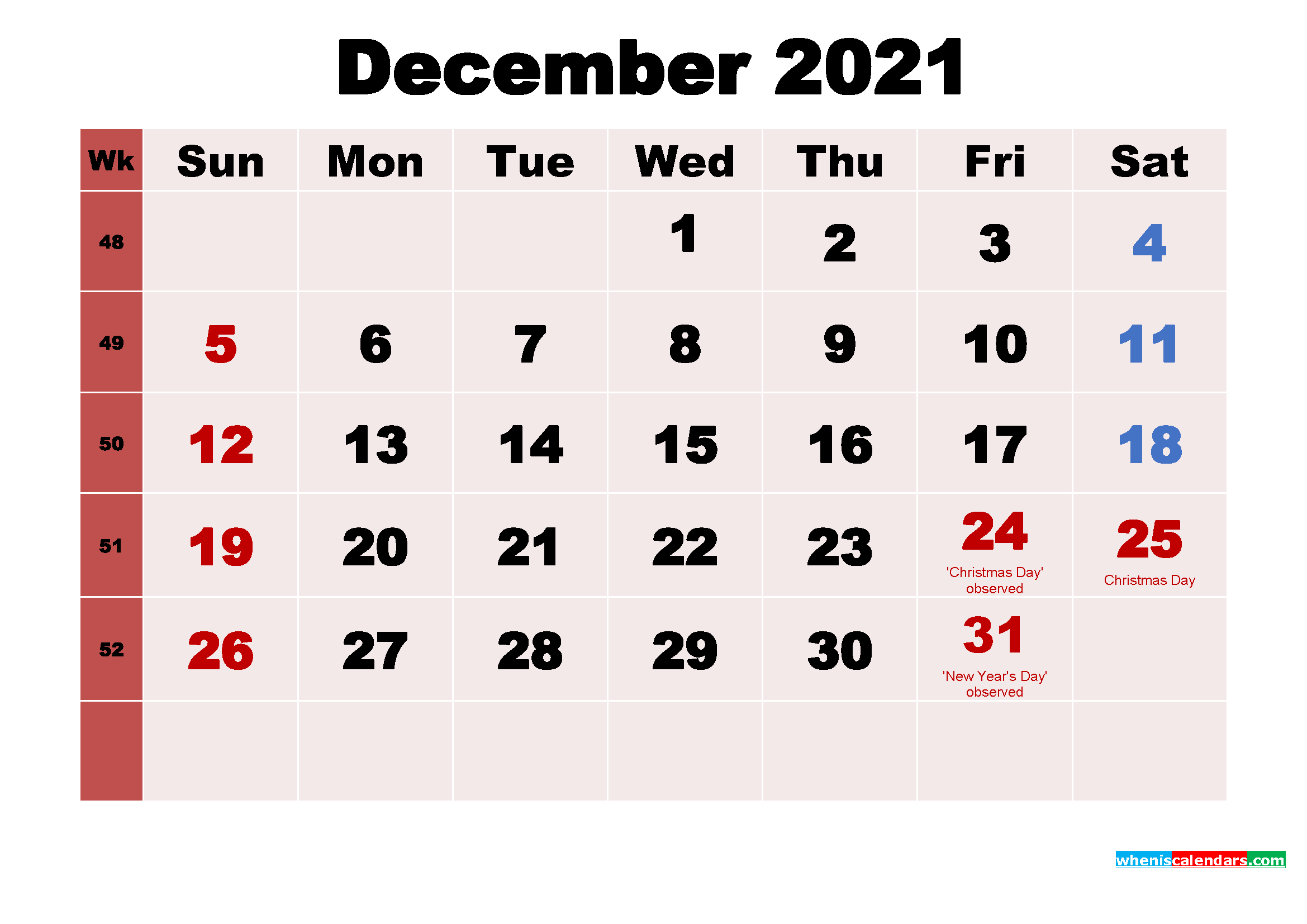 December 2021 Calendar Wallpaper Free Download