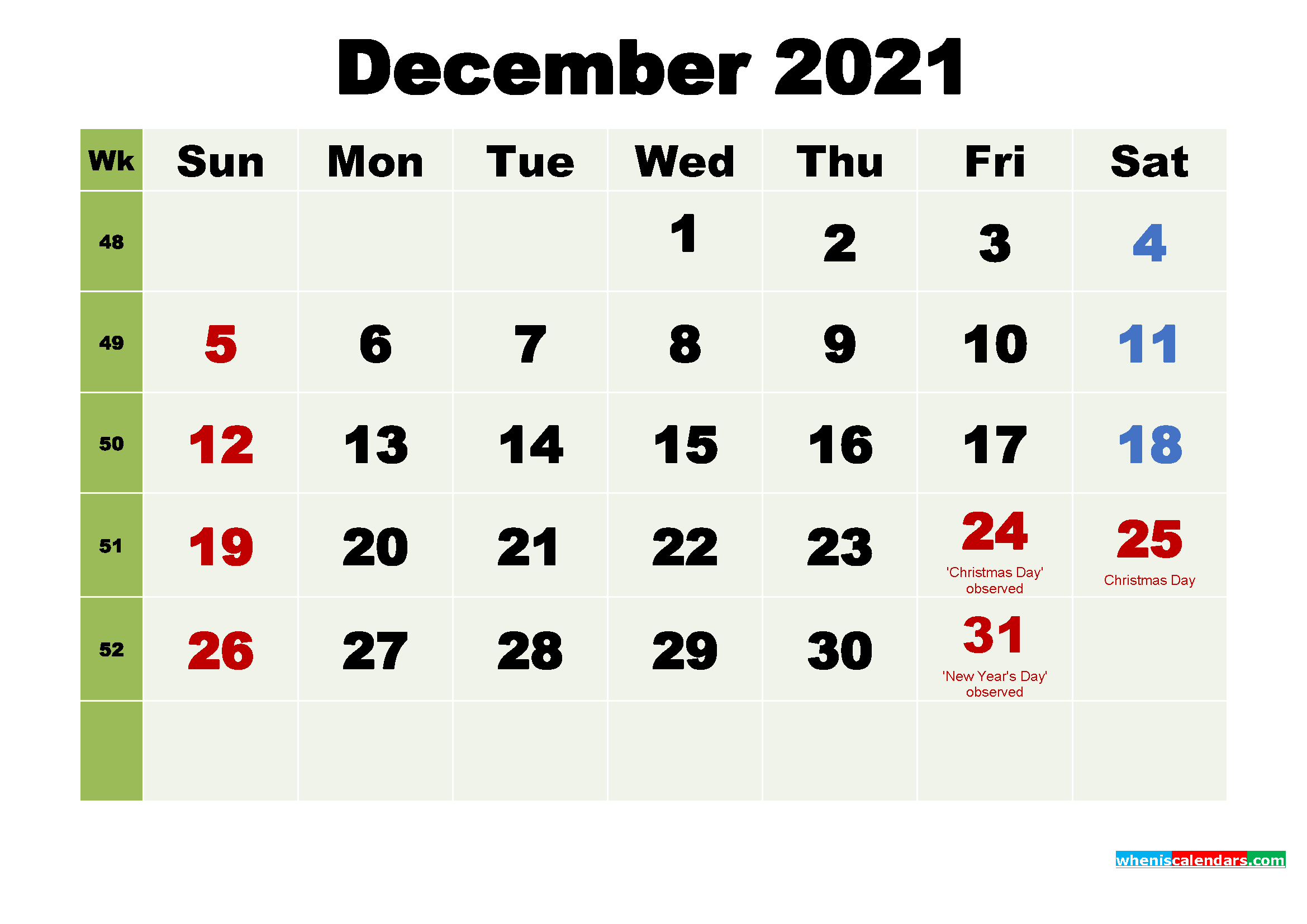 Printable Calendar December 2021 with Holidays as Word, PDF