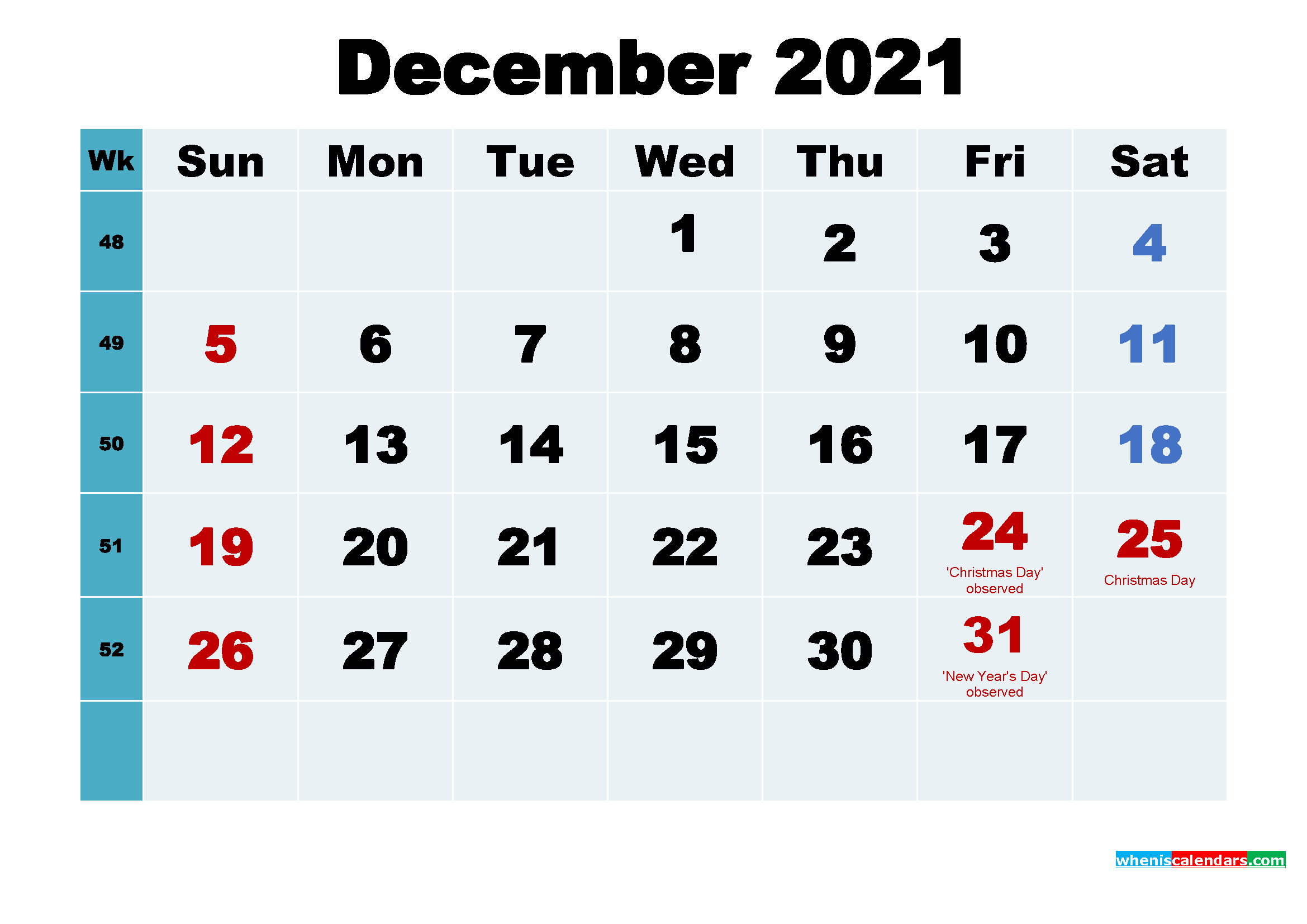Printable 2021 Calendar with Holidays December