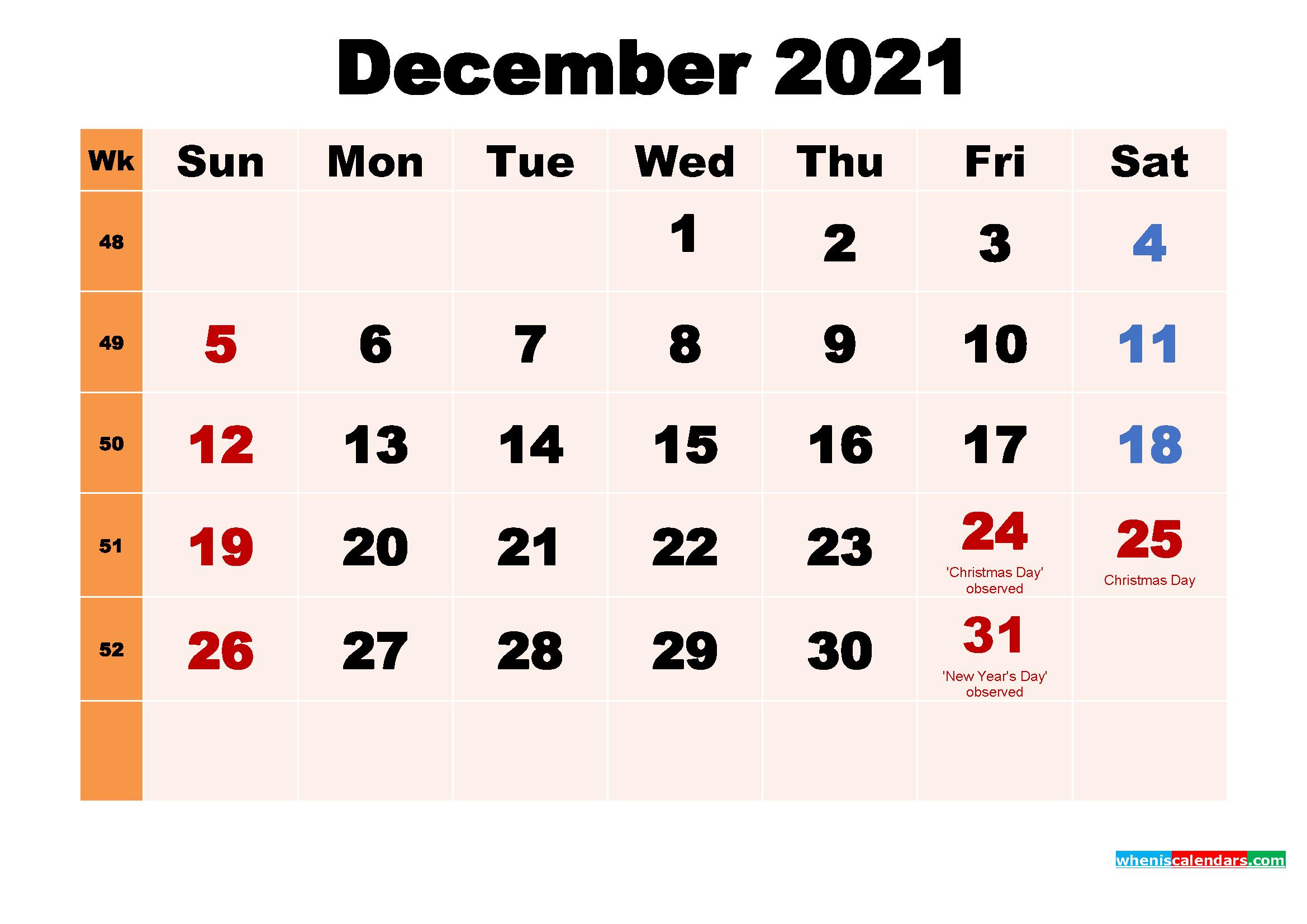 Free Printable 2021 Calendar with Holidays December