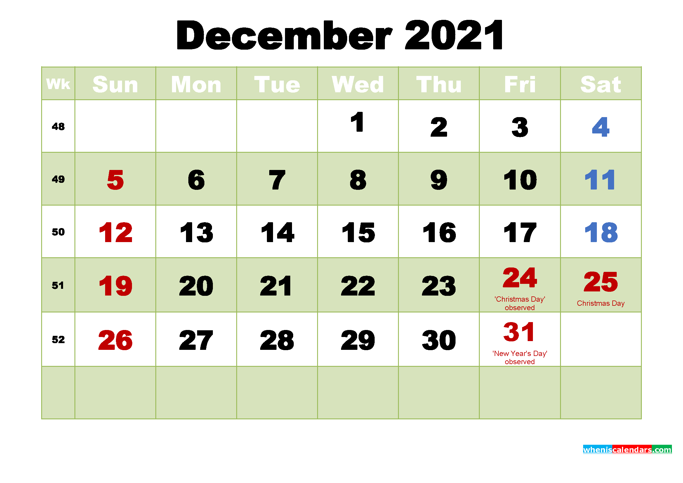 Free December 2021 Printable Calendar Template Word, PDF
