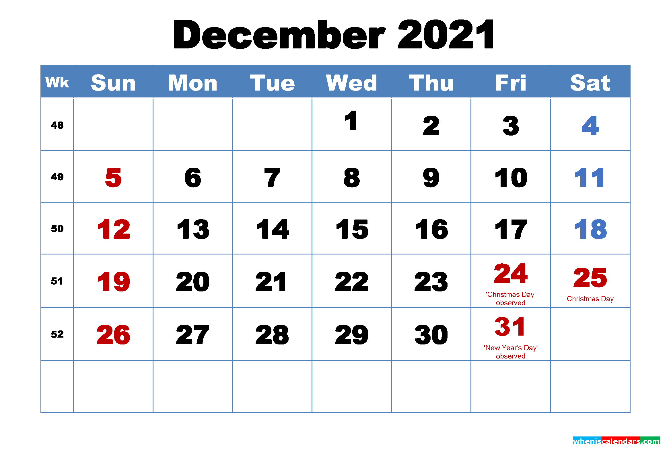 Printable December 2021 Calendar with Holidays – Free Printable