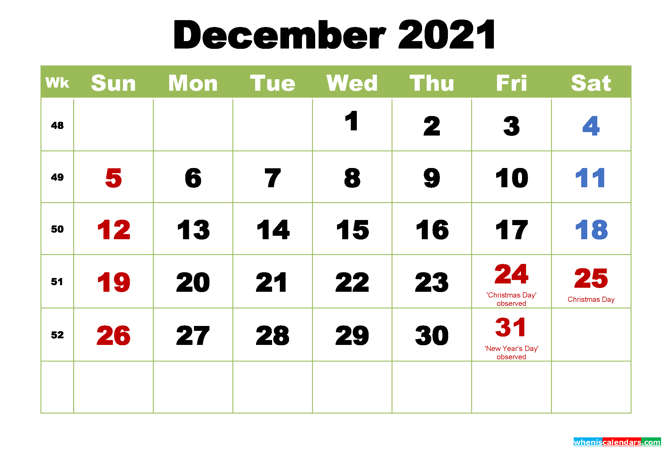 Free Printable 2021 Calendar with Holidays December