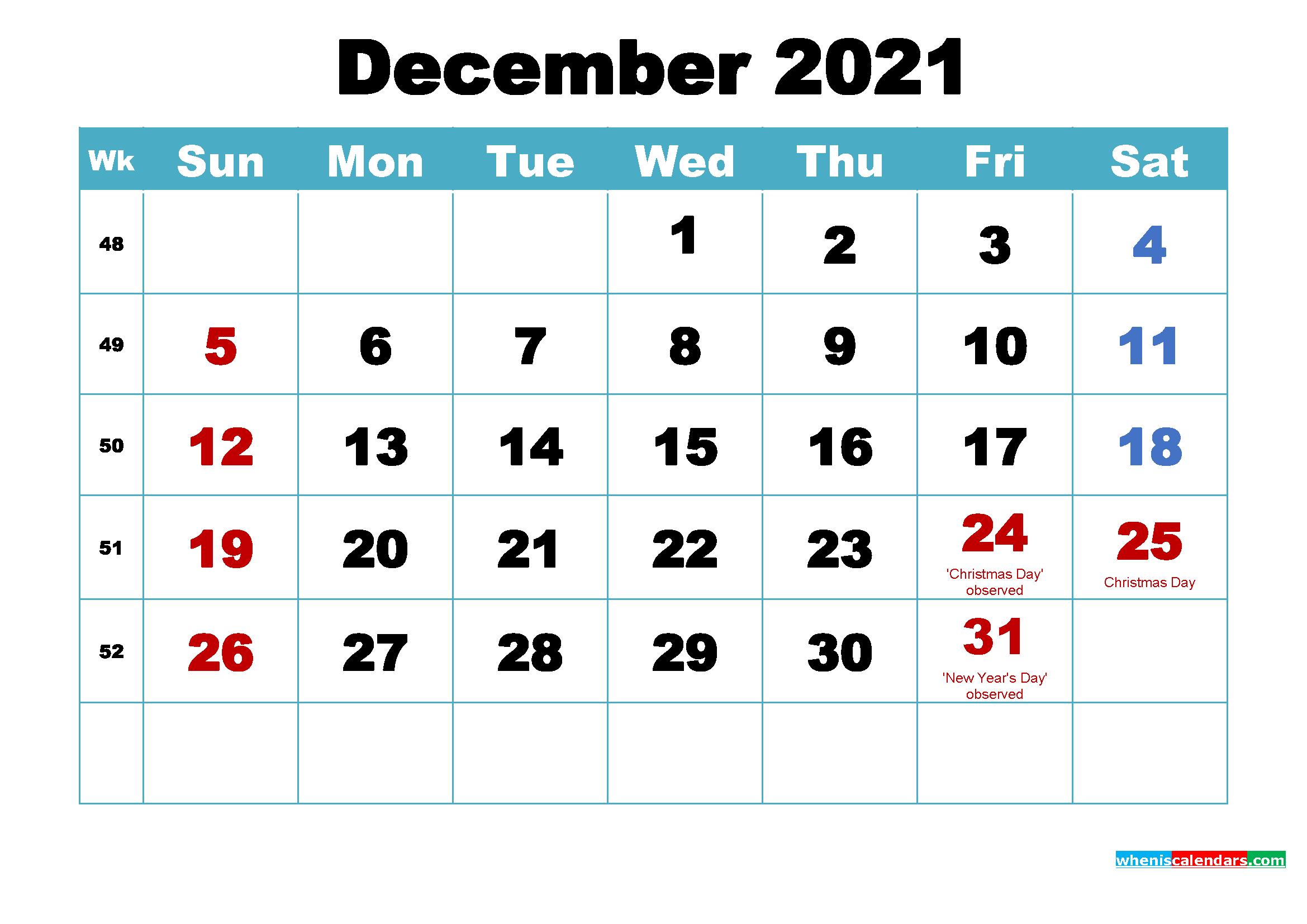 Printable December 2021 Calendar by Month