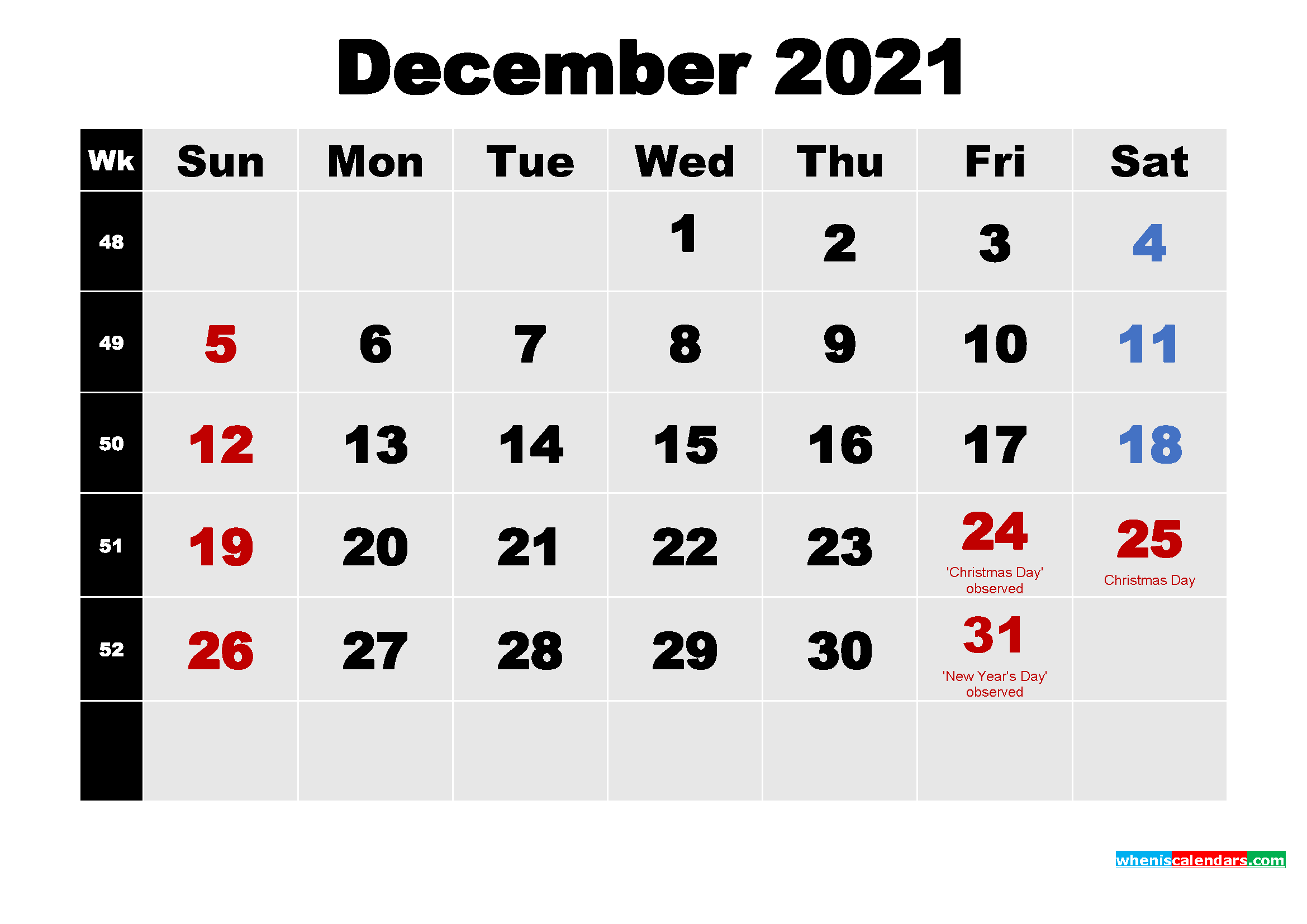 December 2021 Calendar with Holidays Wallpaper