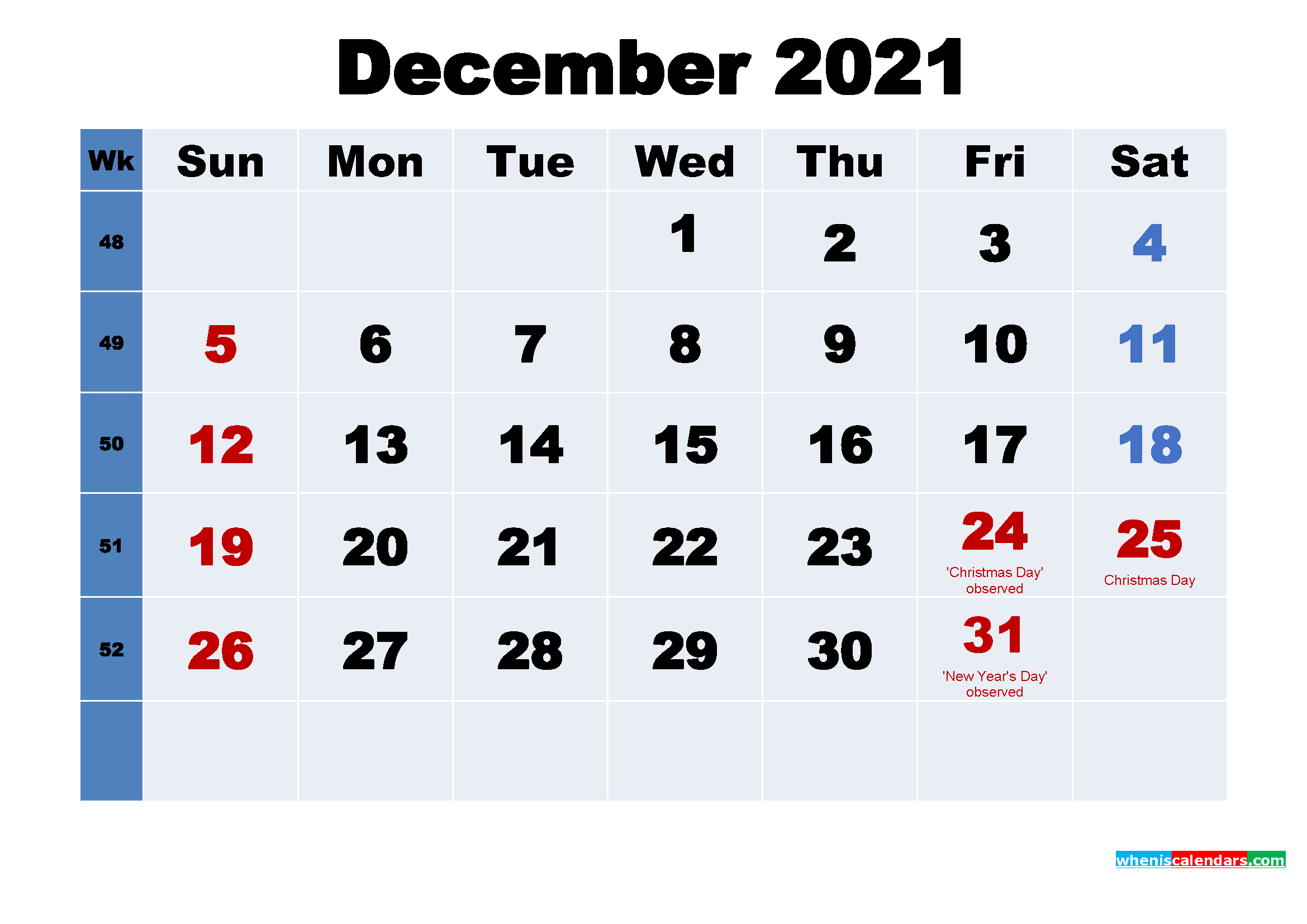 Free 2021 Printable Calendar December as Word, PDF