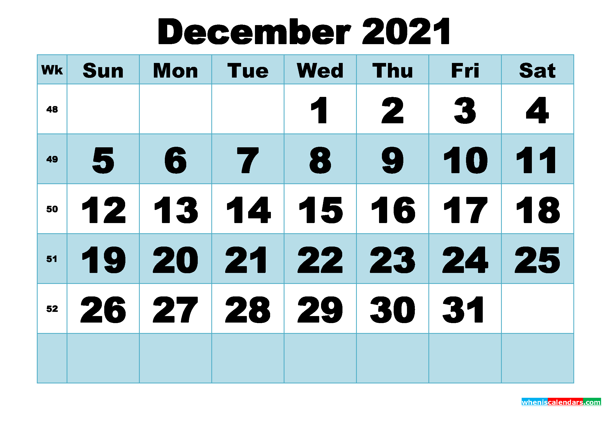 Free Printable December 2021 Calendar Word, PDF, Image