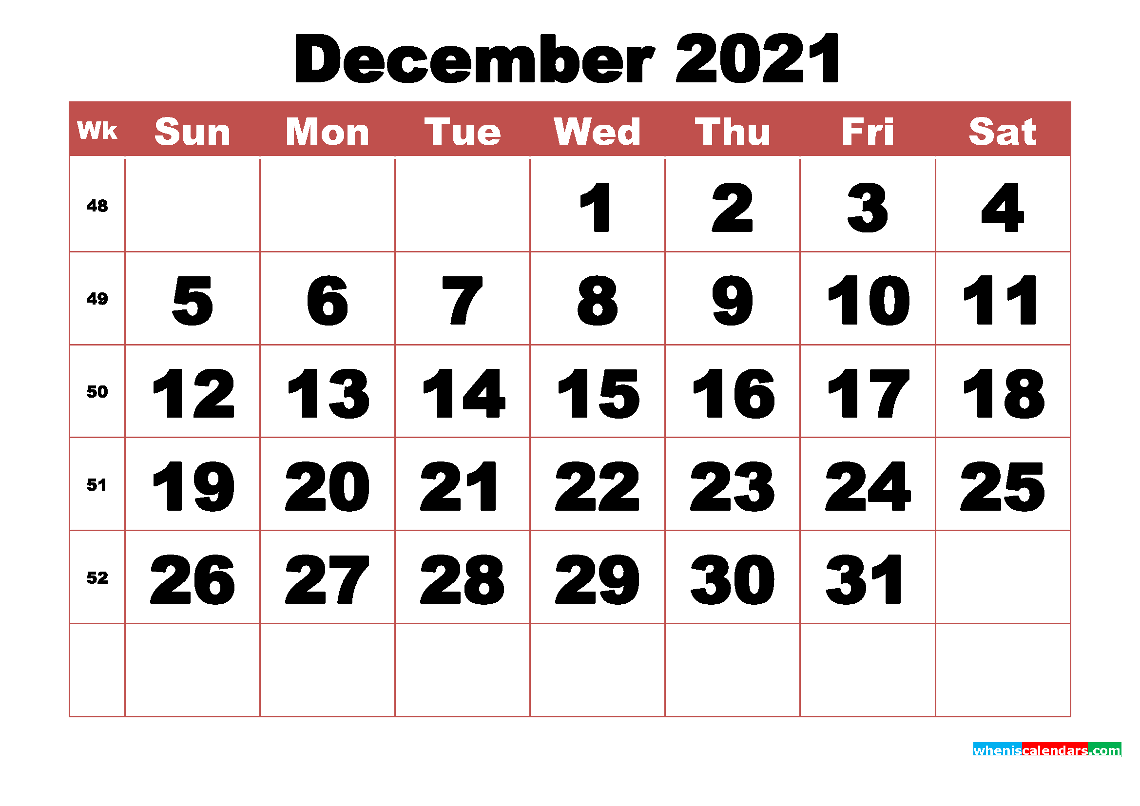 2021 Monthly Calendar Printable Word - 2021 and 2022 ...