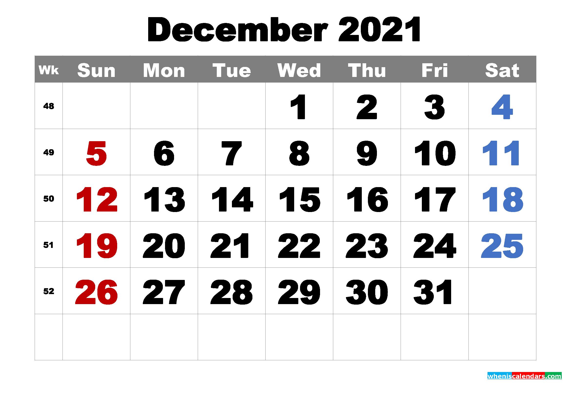 Free Printable December 2021 Calendar Word, PDF, Image ...