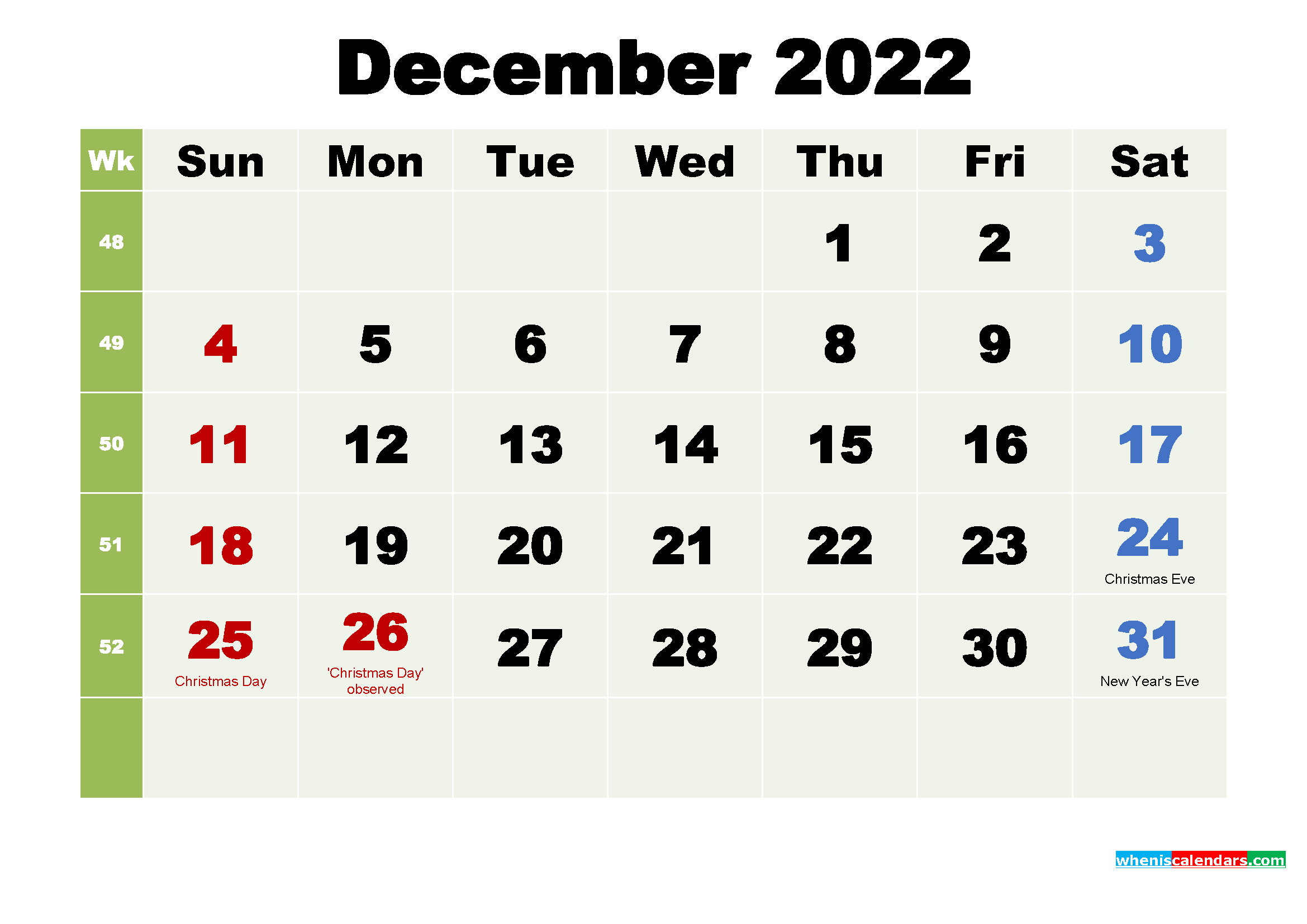 Printable Calendar December 2022 with Holidays as Word, PDF