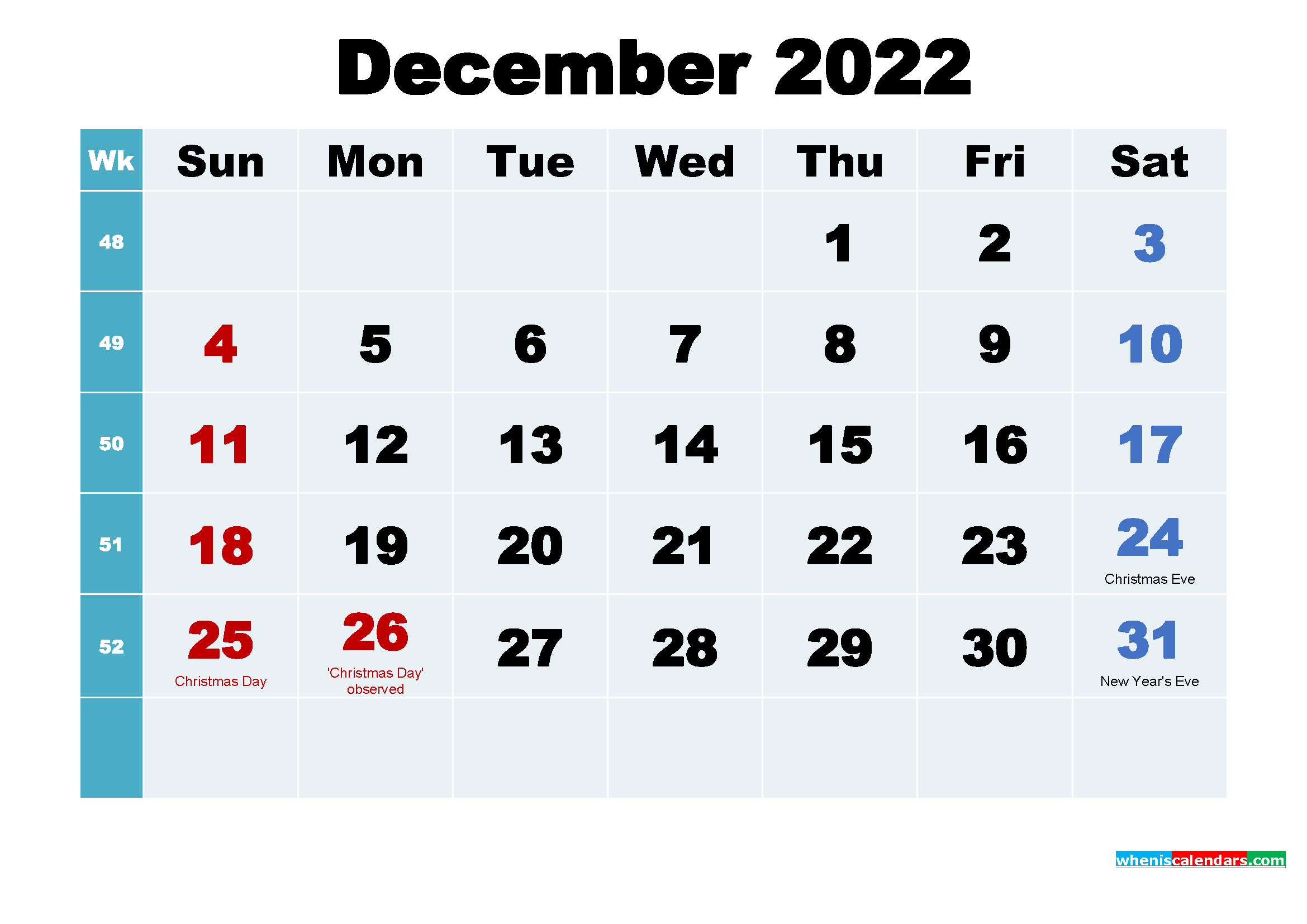 Free Printable December 2022 Calendar Wallpaper