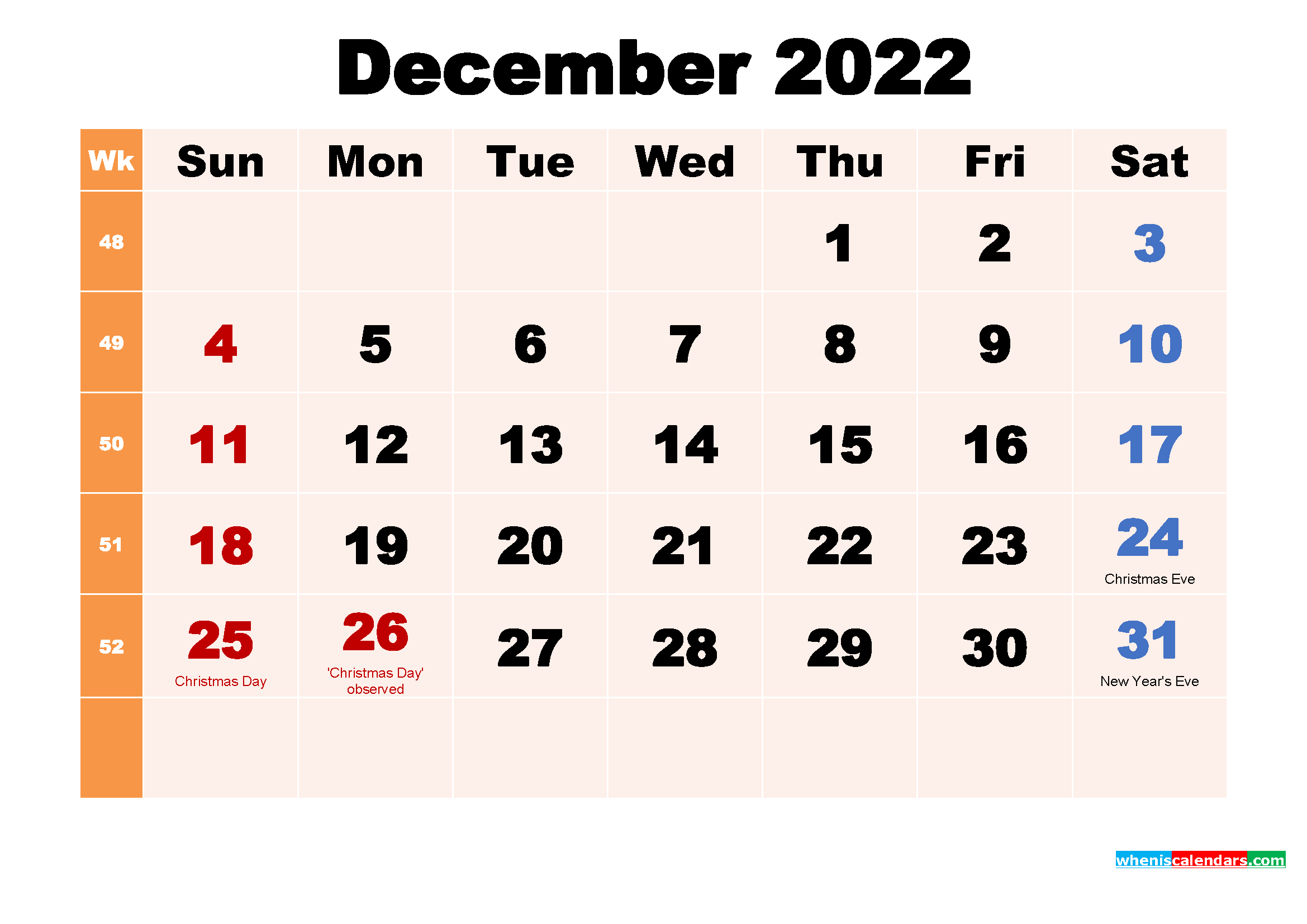Free Printable 2022 Calendar with Holidays December