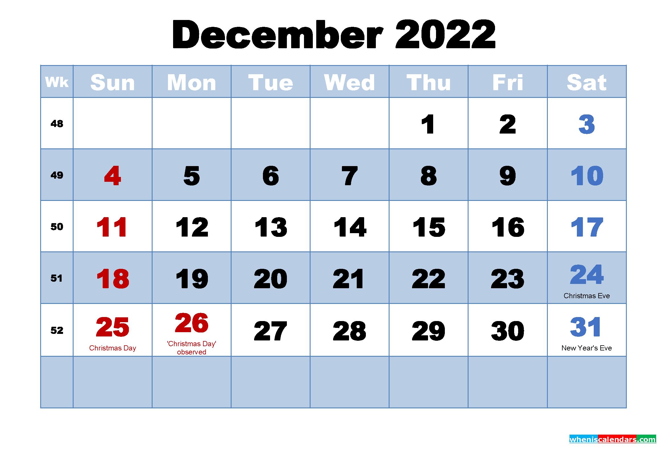 December 2022 Desktop Calendar Monthly