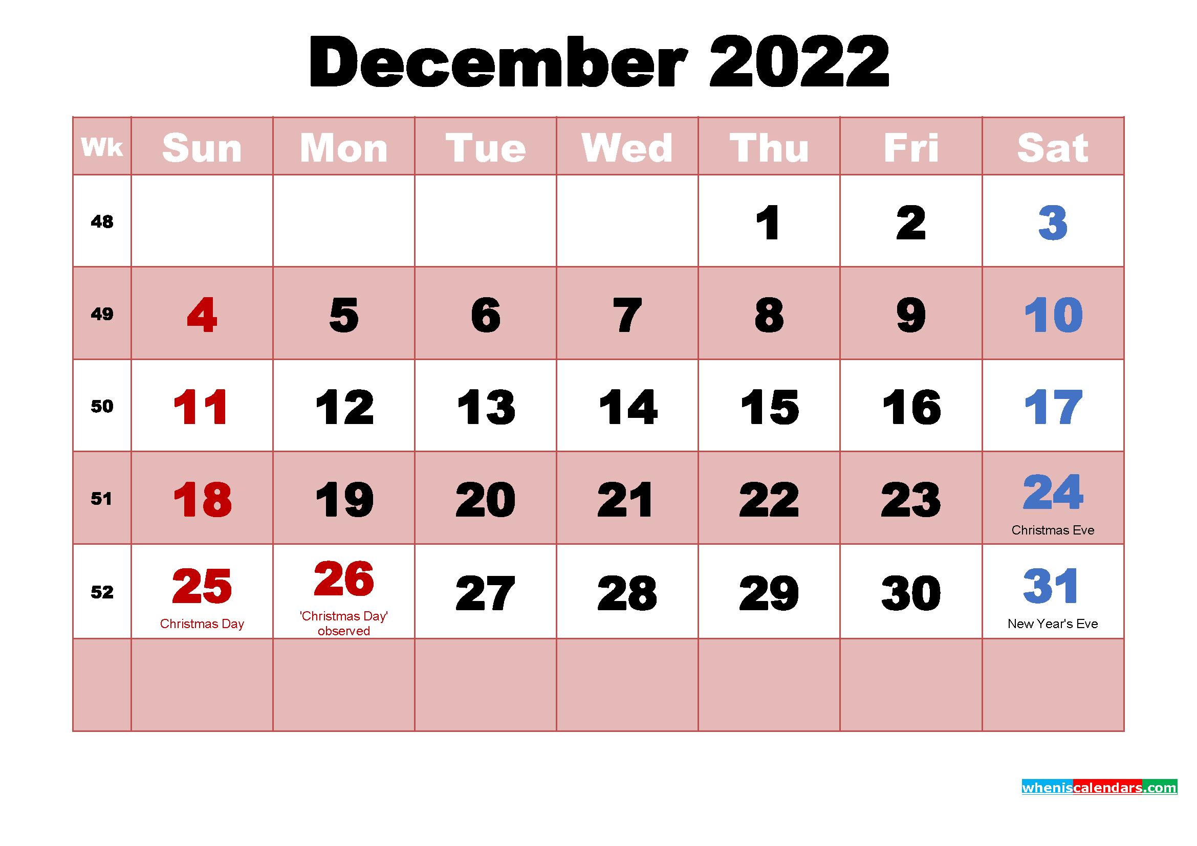 December 2022 Calendar with Holidays Wallpaper