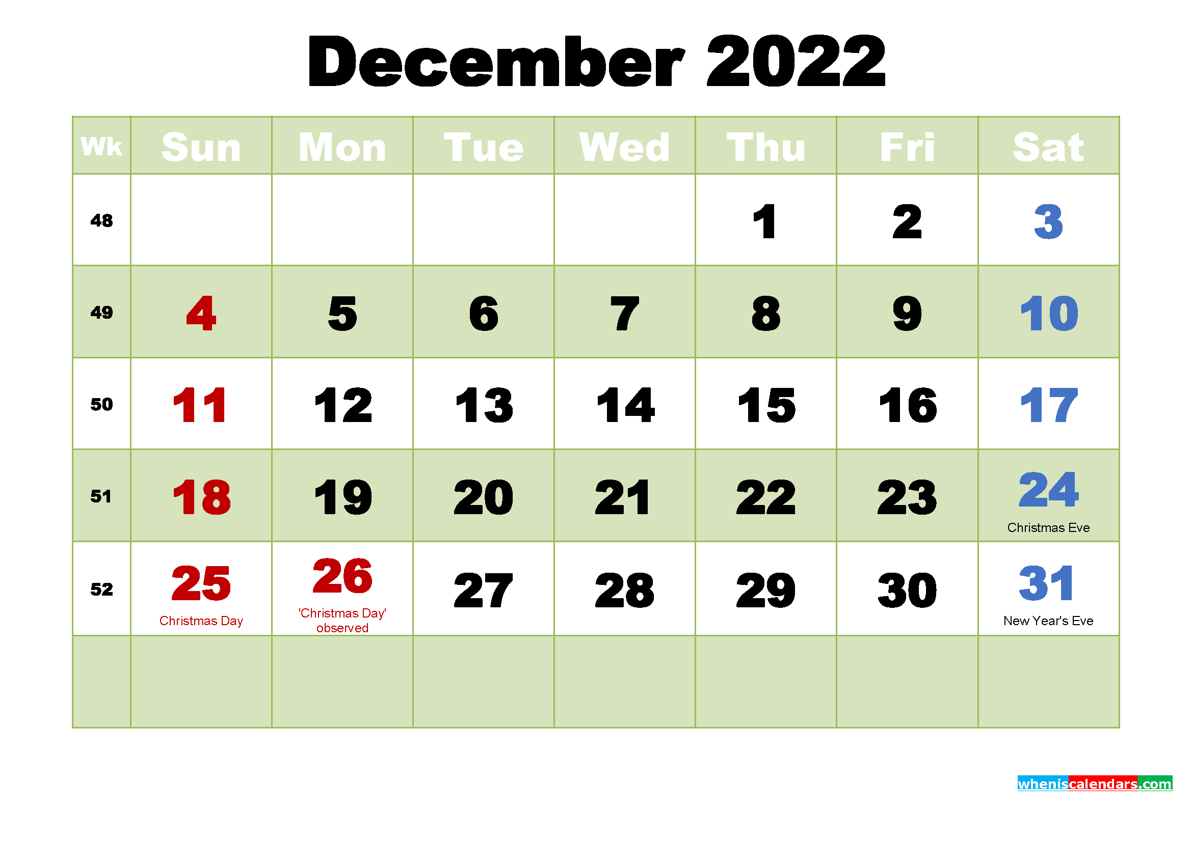 Printable Calendar for December 2022