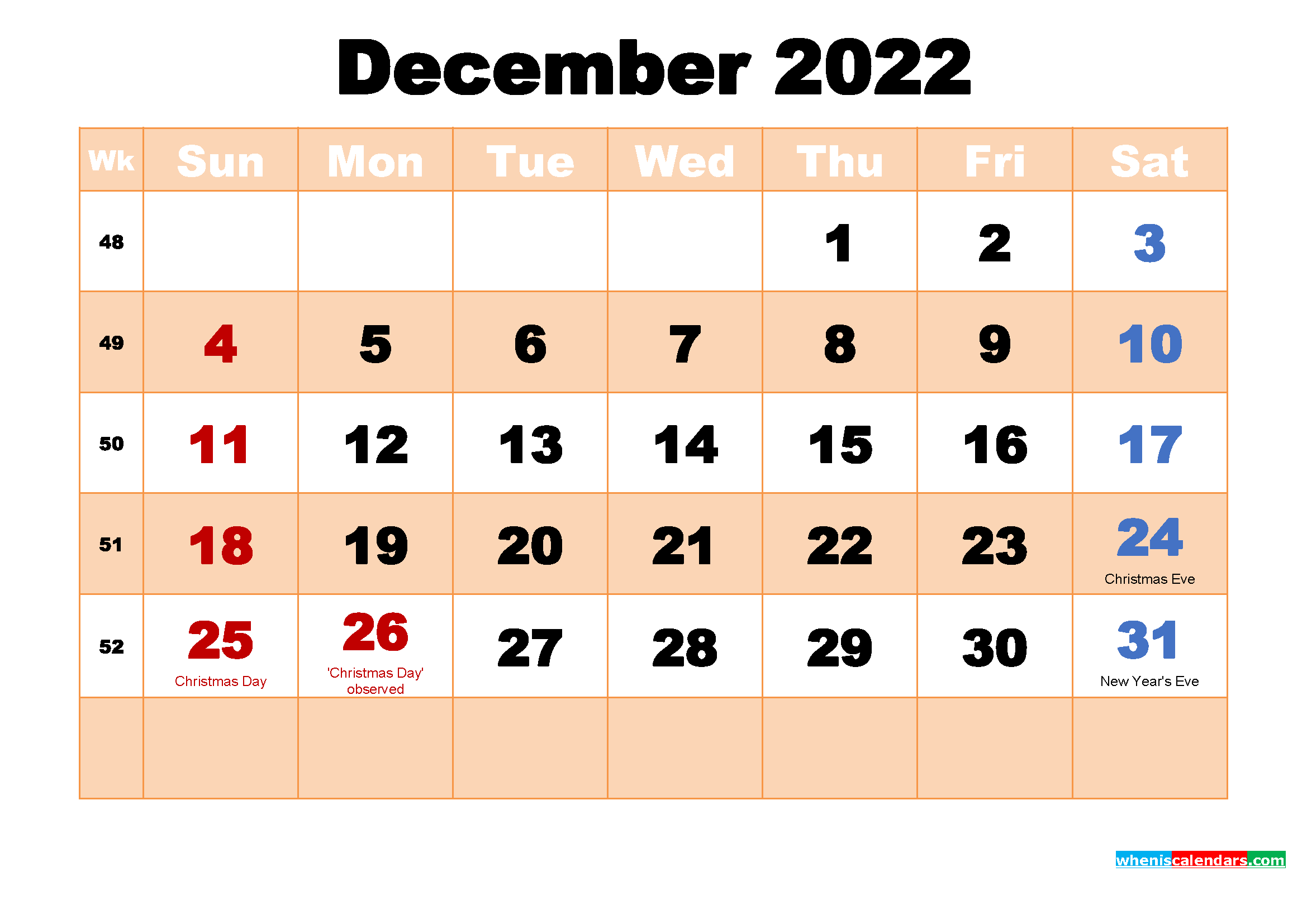 December 2022 Calendar with Holidays Wallpaper