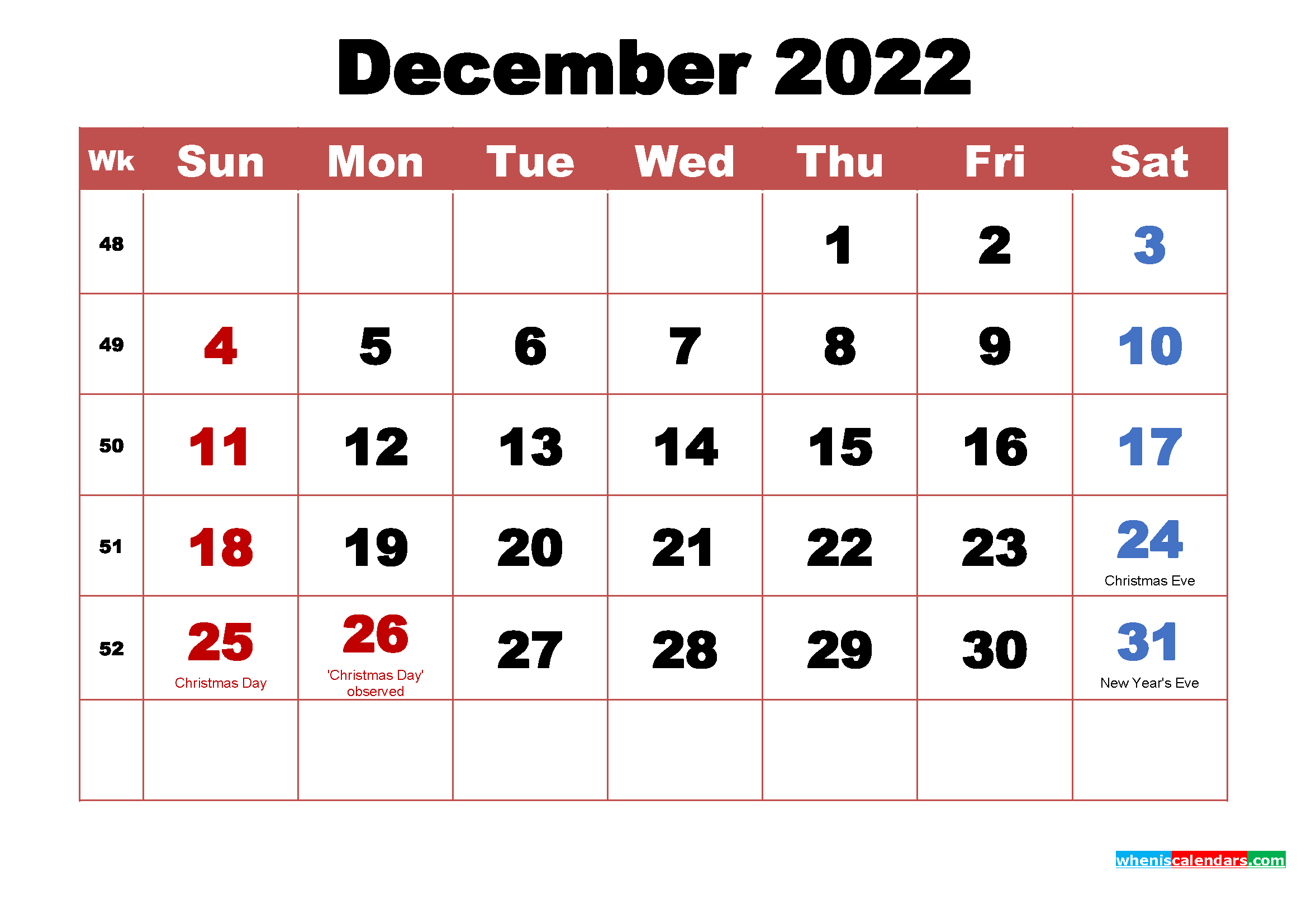 Printable 2022 Calendar with Holidays December